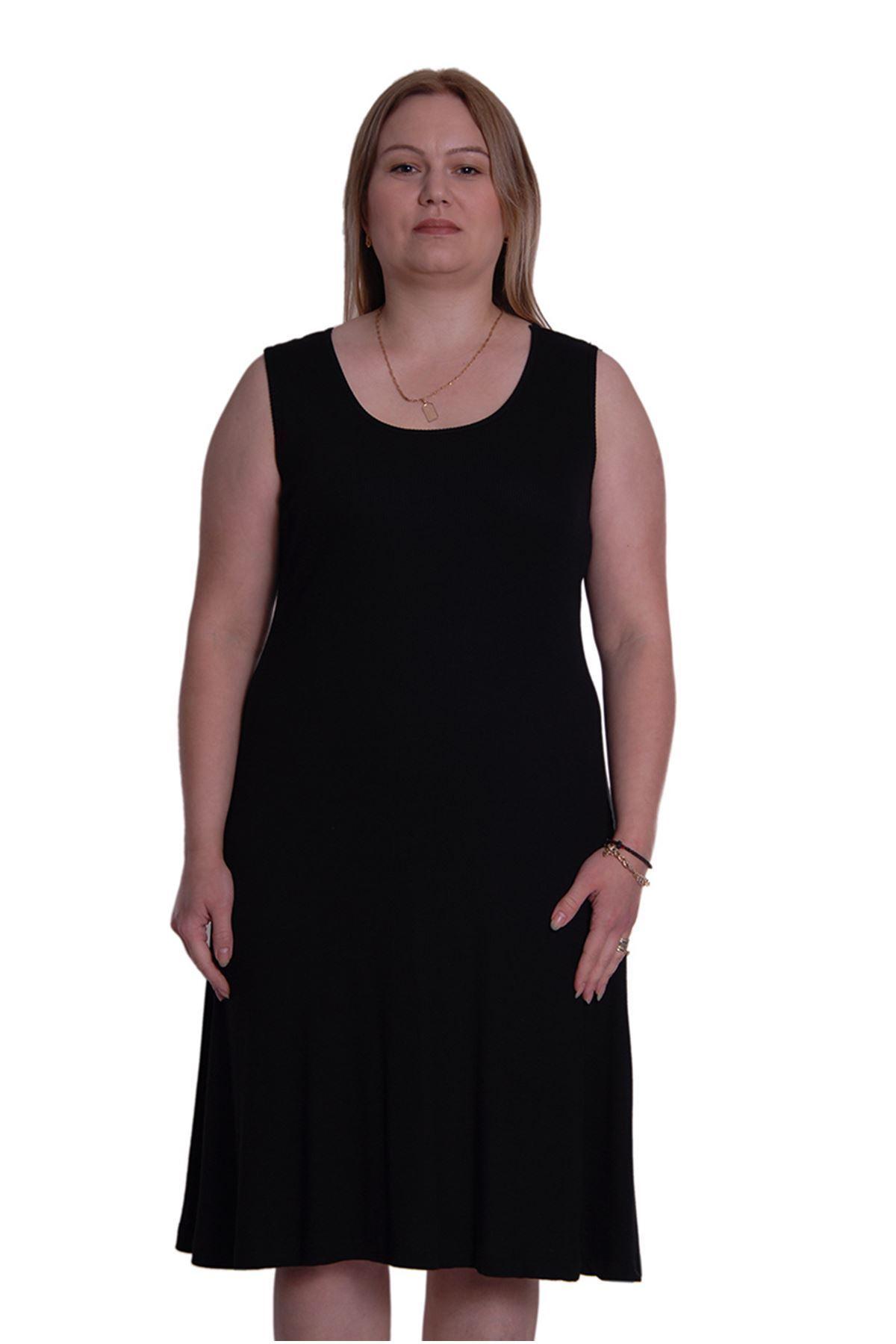 Siyah Kolsuz Esnek Elbise 2C-0013