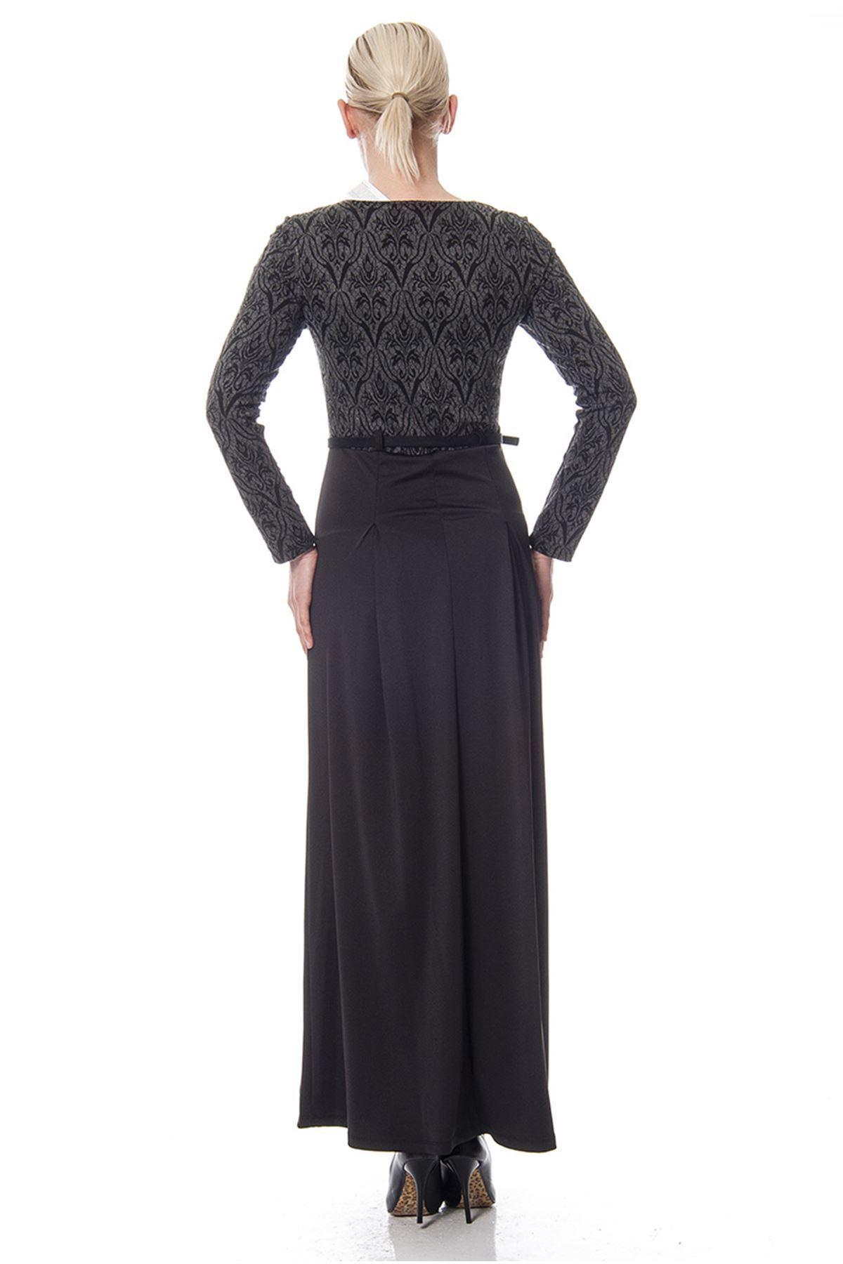 Siyah Gri Desenli Kemerli Elbise F1-113460
