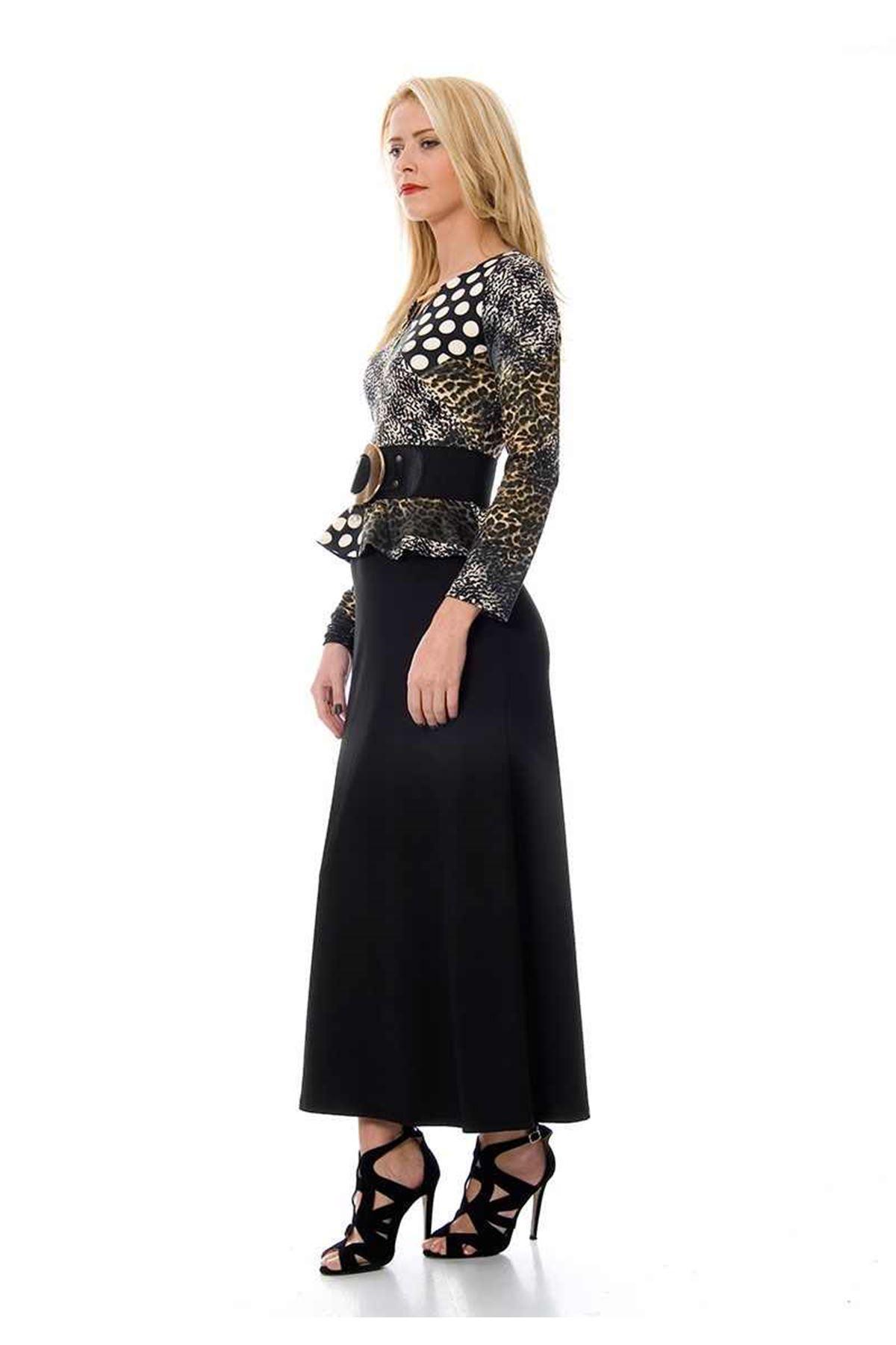 Siyah Desenli Elbise F9-103772