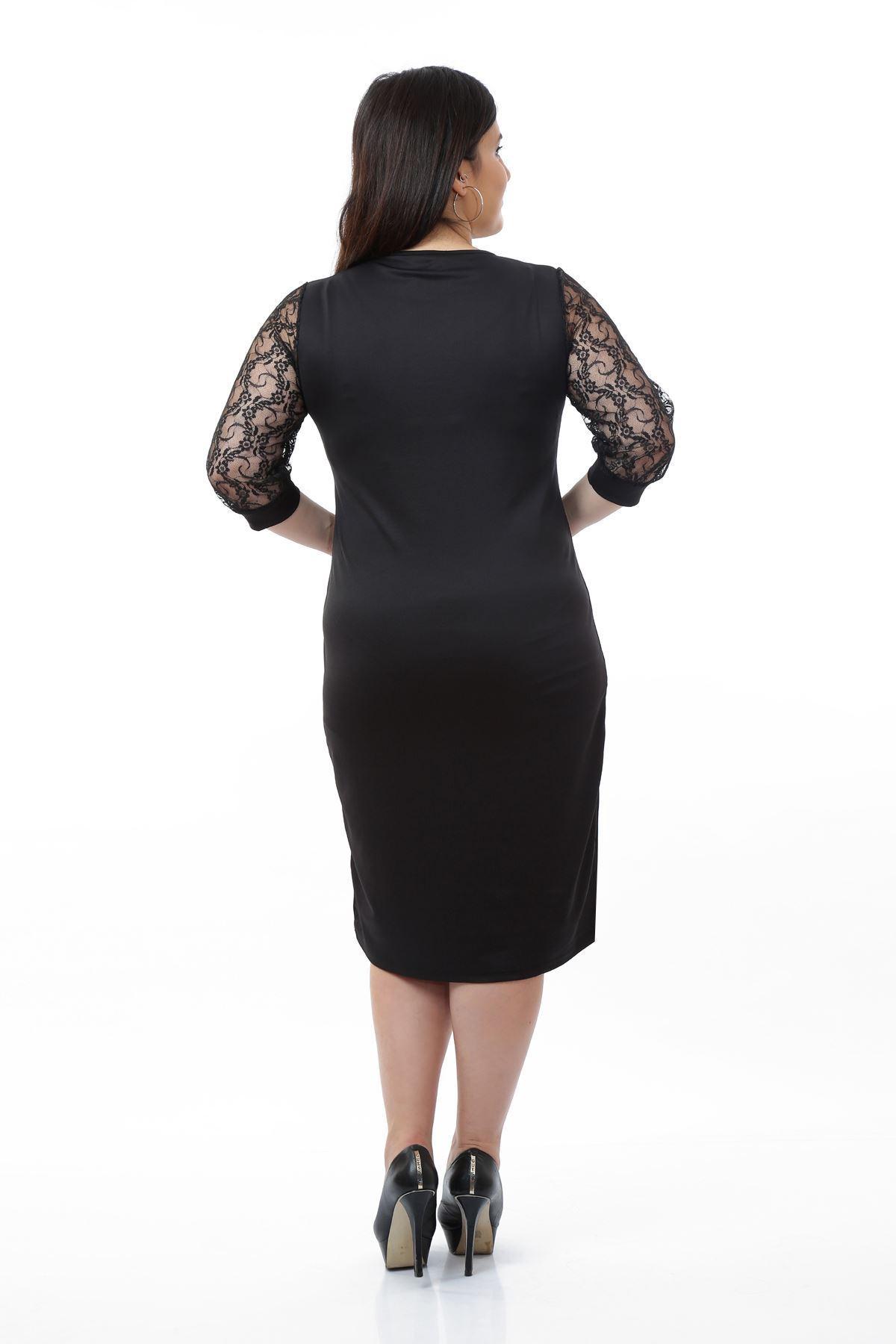 Siyah Dantelli Kol Elbise 10B-0676
