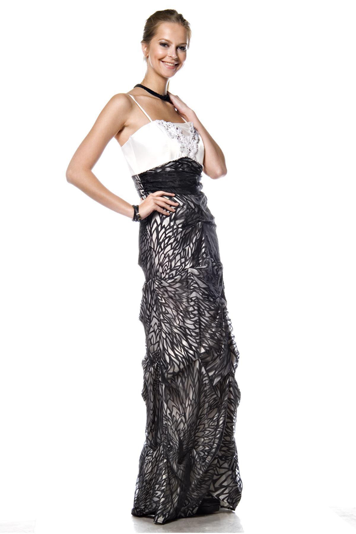 Siyah Beyaz Abiye J9-63555