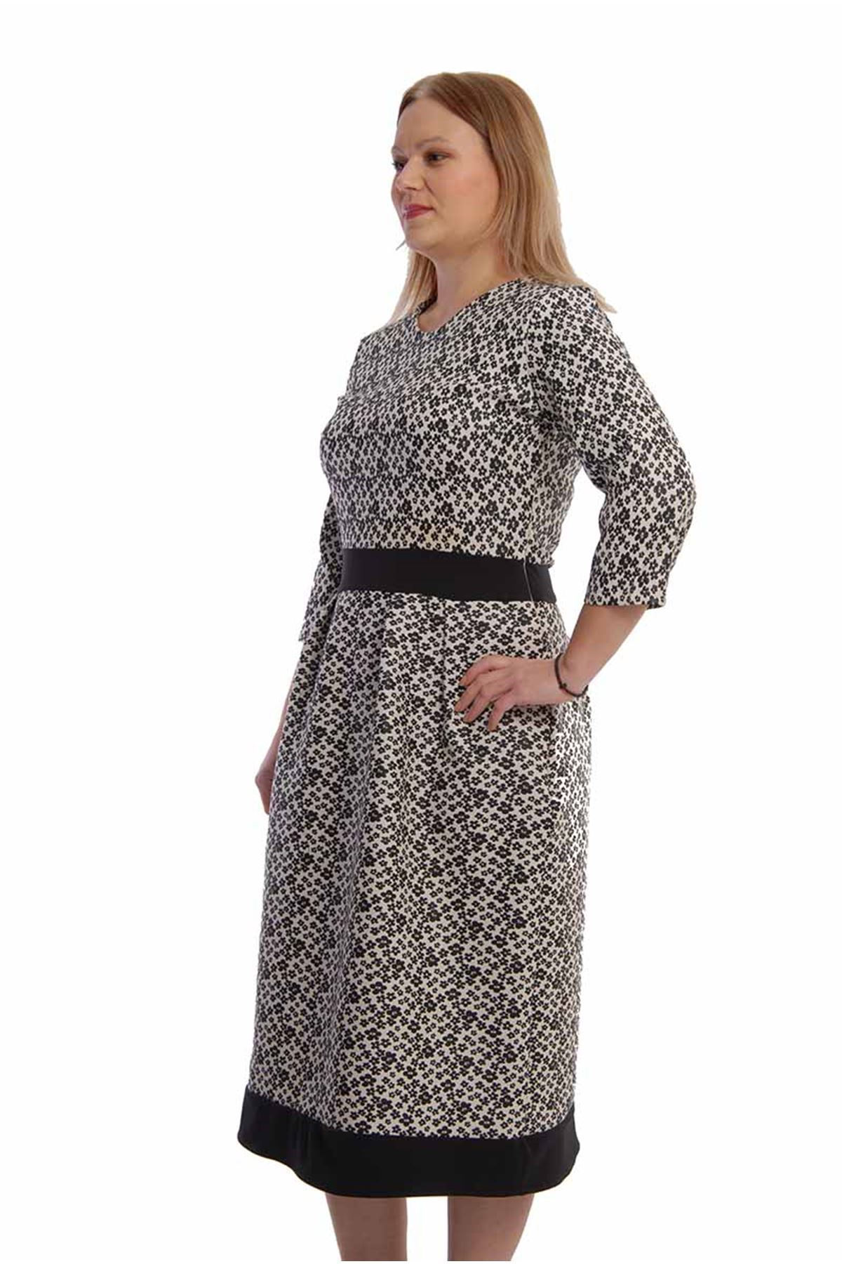 Siyah Belden Oturtma Elbise F9-65539