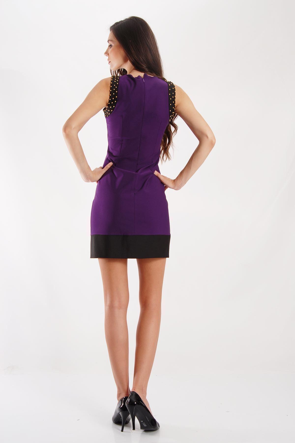 Sıfır Kollu Mor Elbise G5-53499