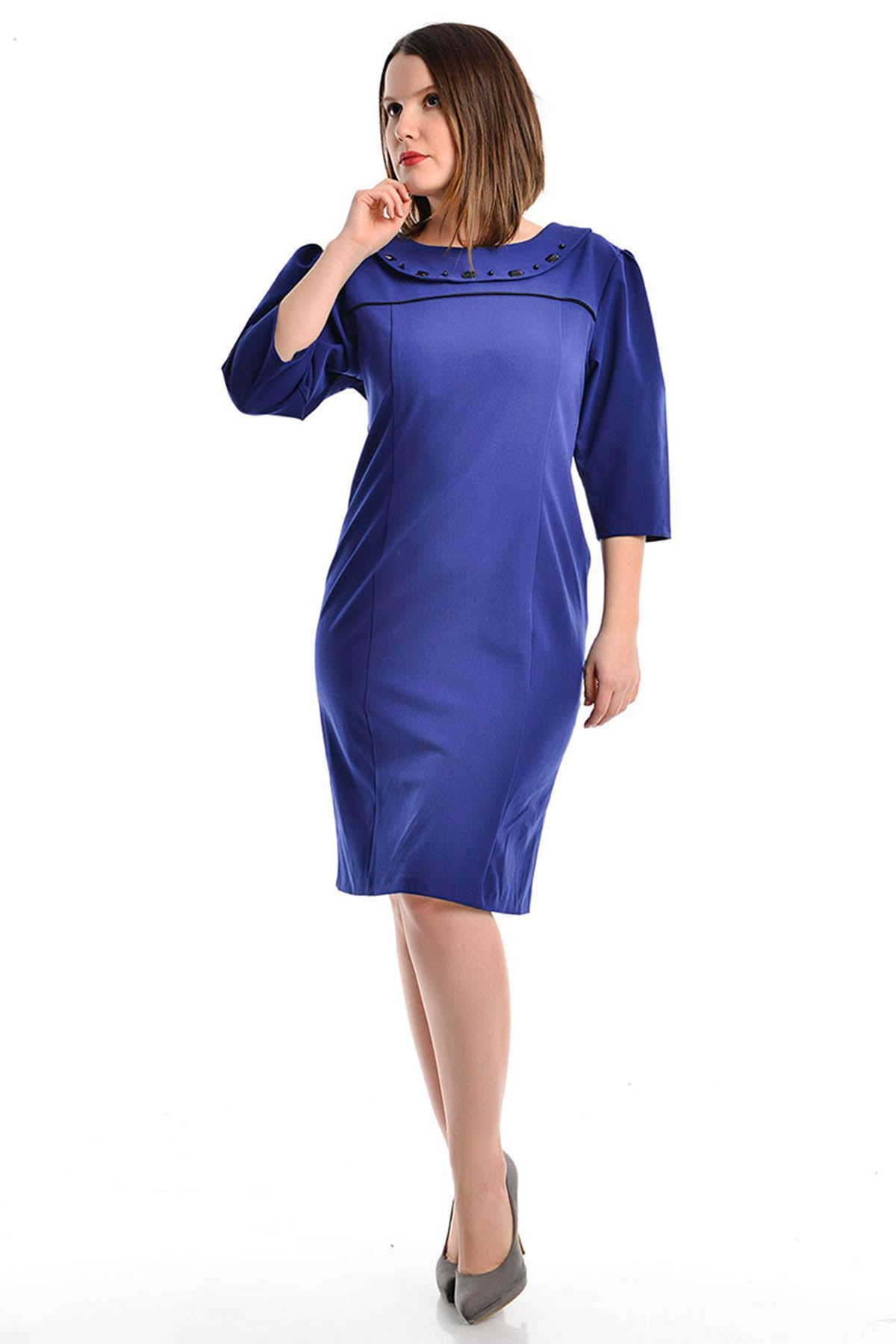 Saks Mavisi Yaka Taşlı  Elbise F12-111852