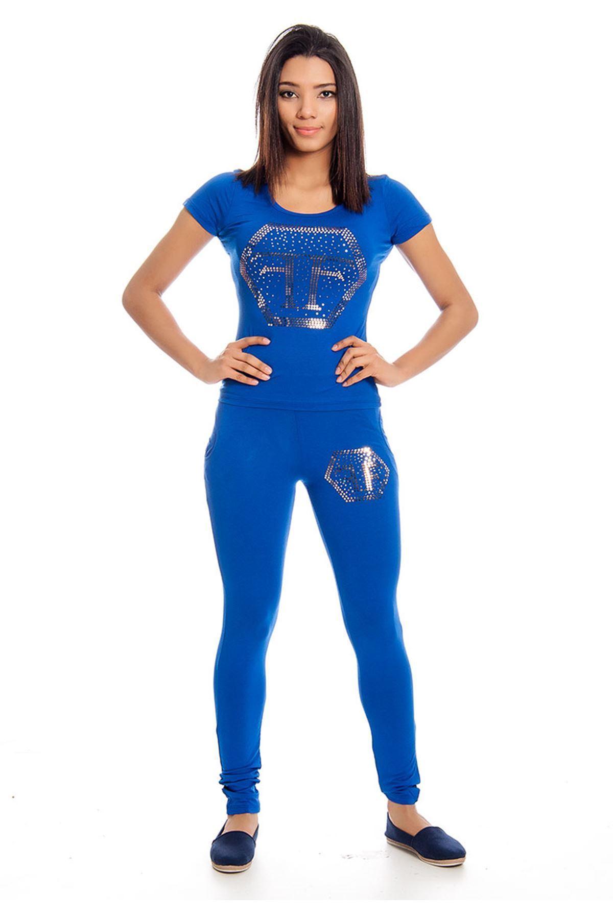 Saks Mavi Pul İşlemeli Eşofman Takımı 14E-129540