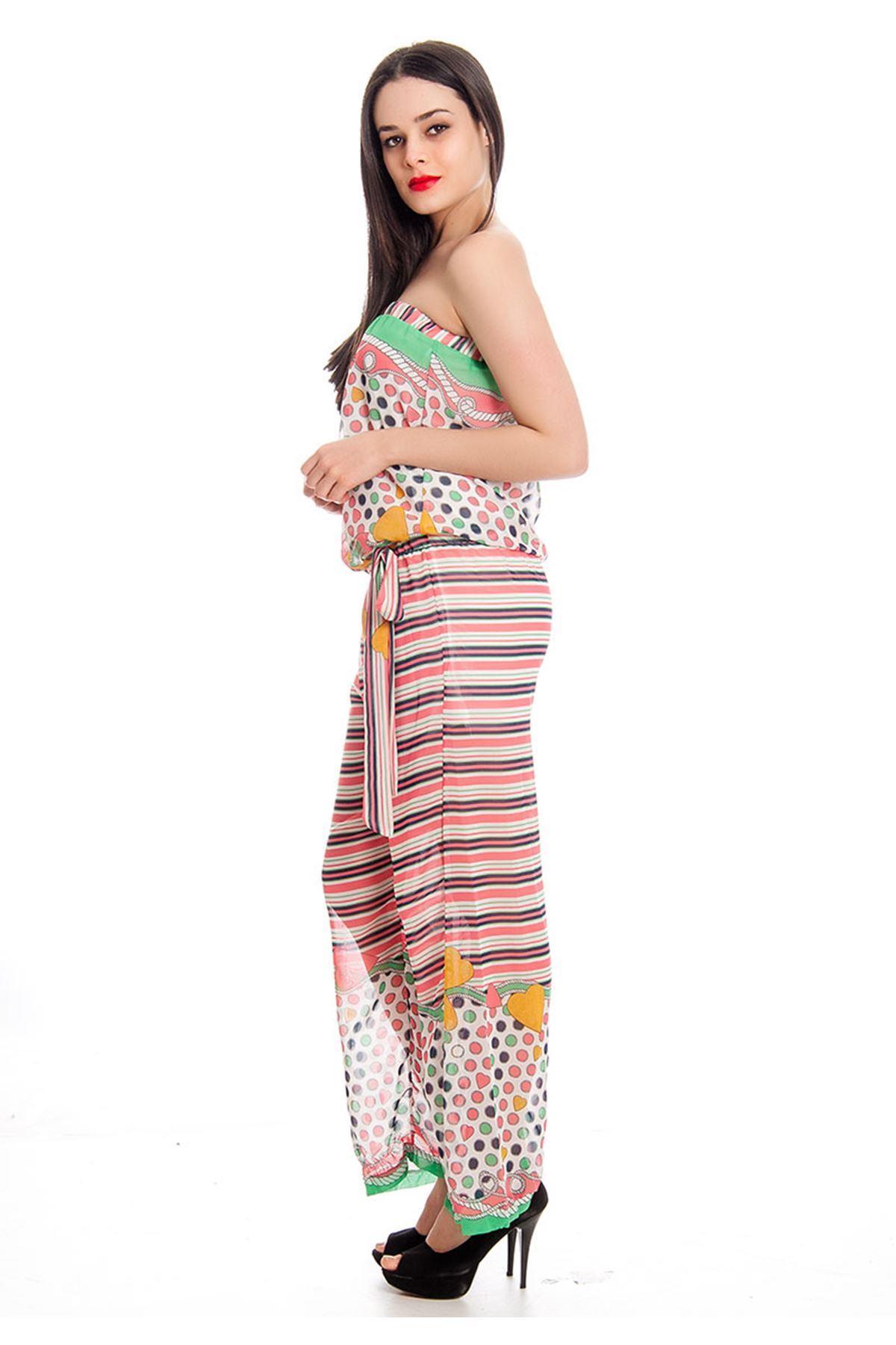 Renkli Şifon Kadın Tulum G1-130446