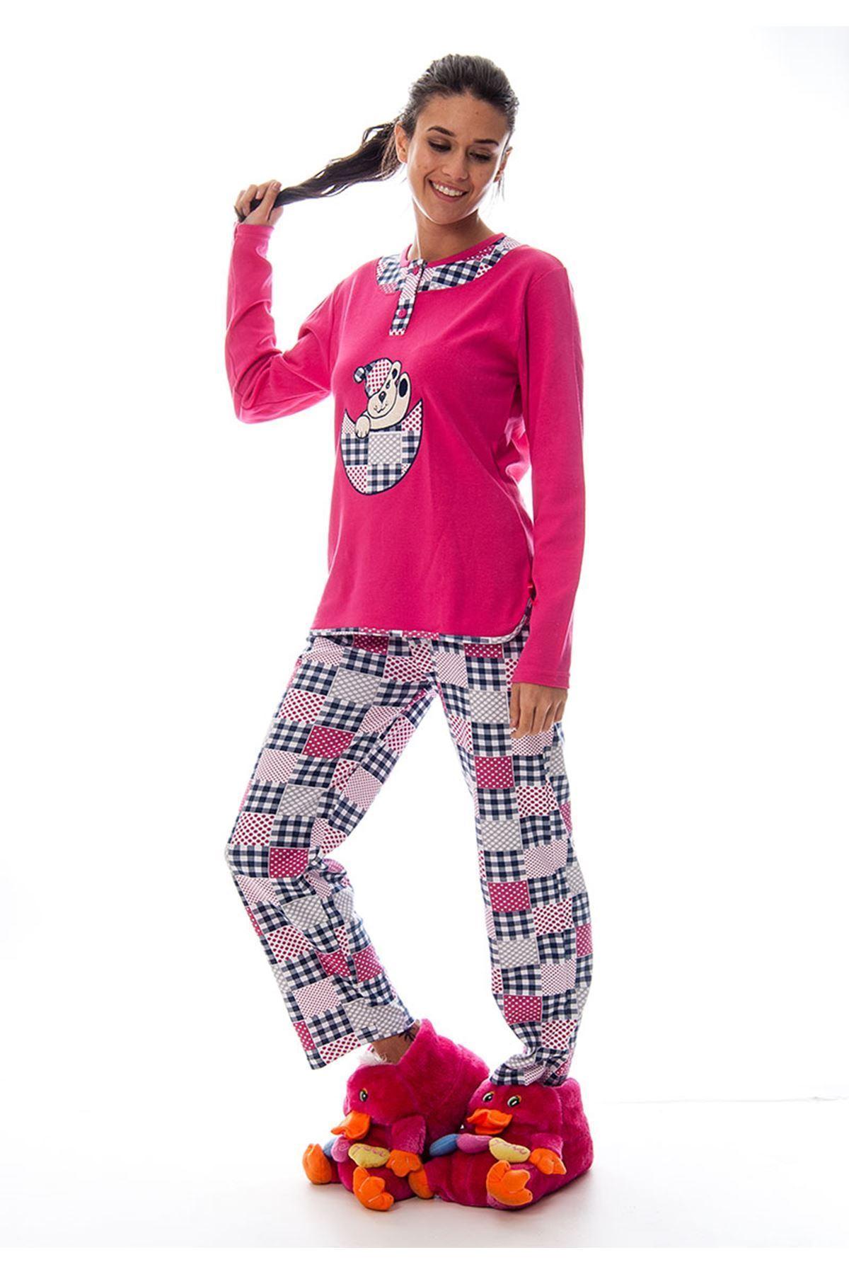 Pembe Ayı Baskılı Kadın Pijama Takımı 14C-120358