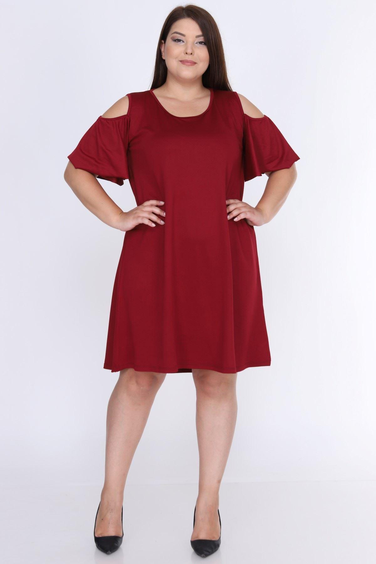 Omuzu Açık Bordo Elbise 7A-0645