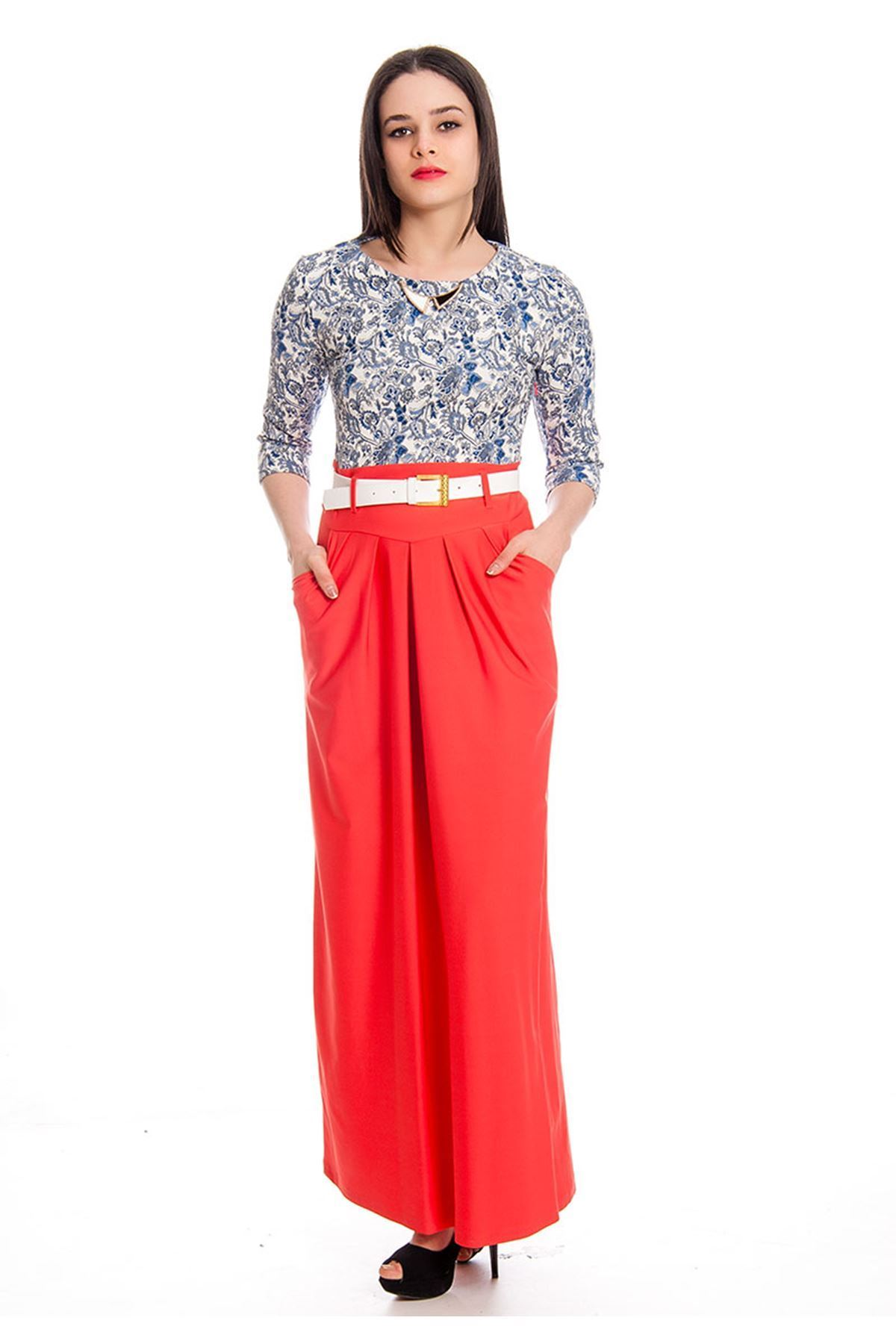 Narçiçeği  Desenli Kadın Uzun Elbise K2-130426