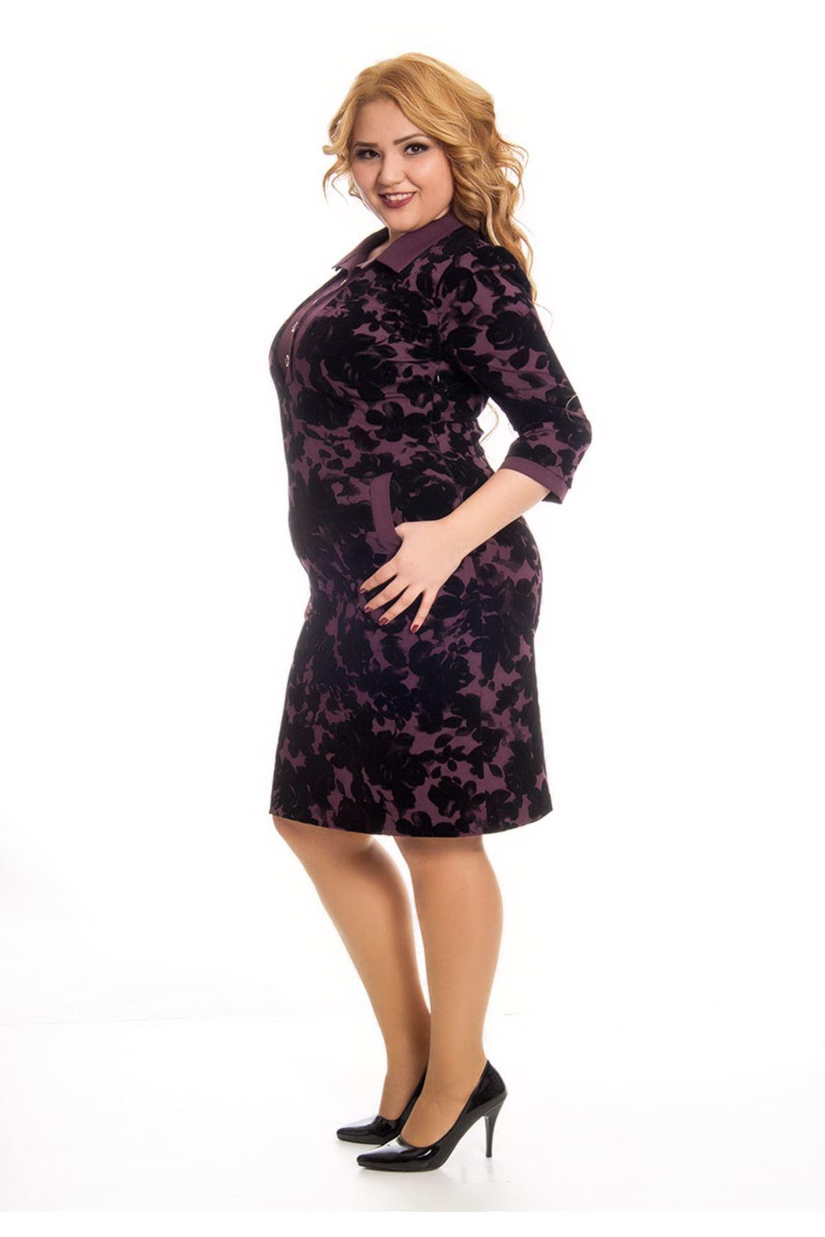 Mor Çiçek Desenli Kadın Elbise F11-122994