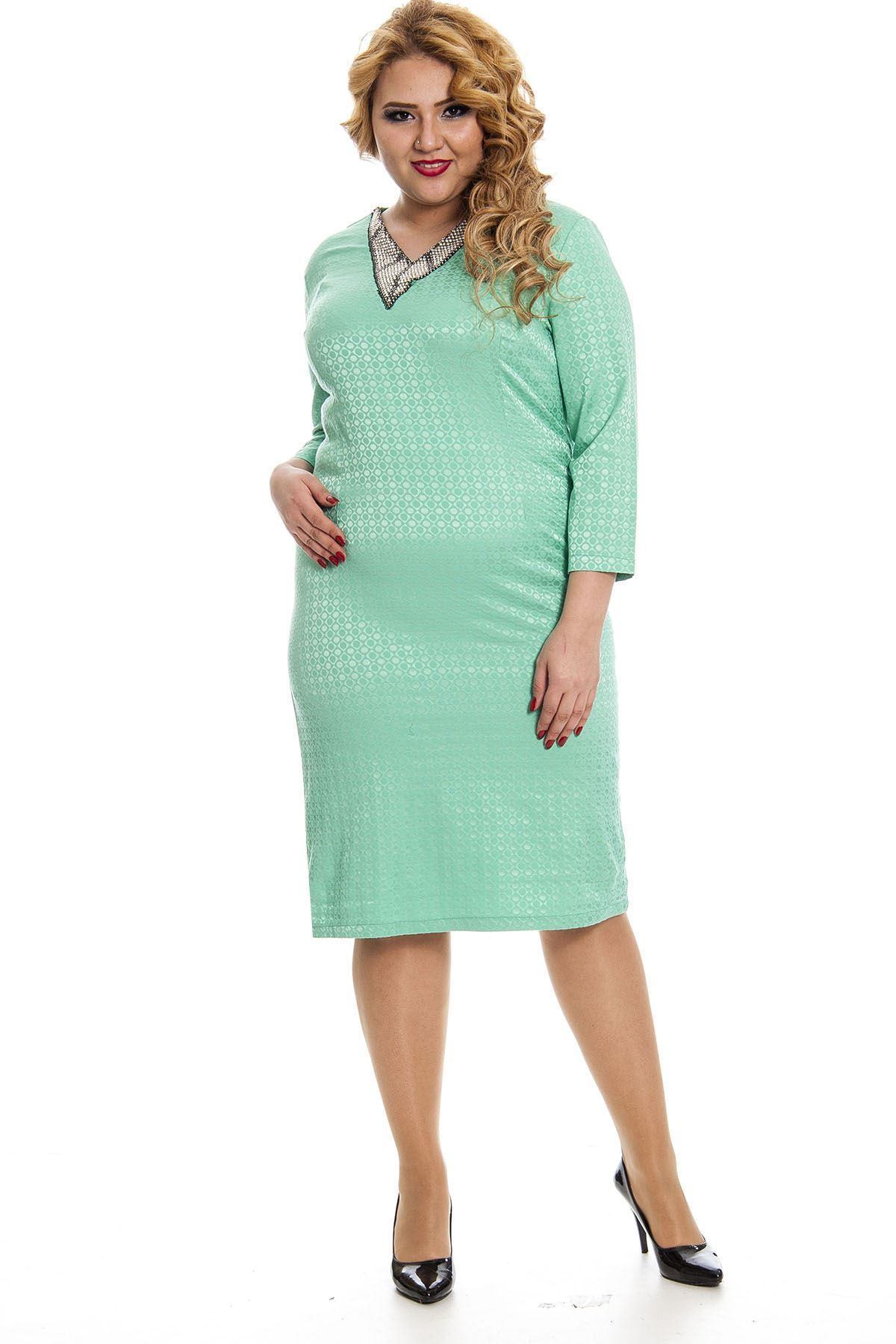 Mint Yeşili Yaka Taşlı Büyük Beden Elbise K11-131006