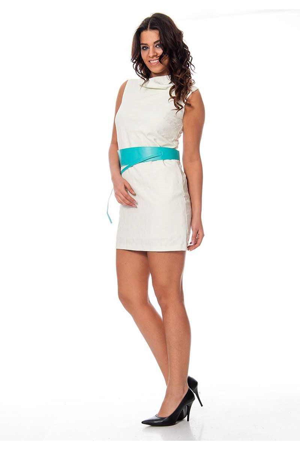 Mint Yeşili - Krem Desenli Elbise F12-108567
