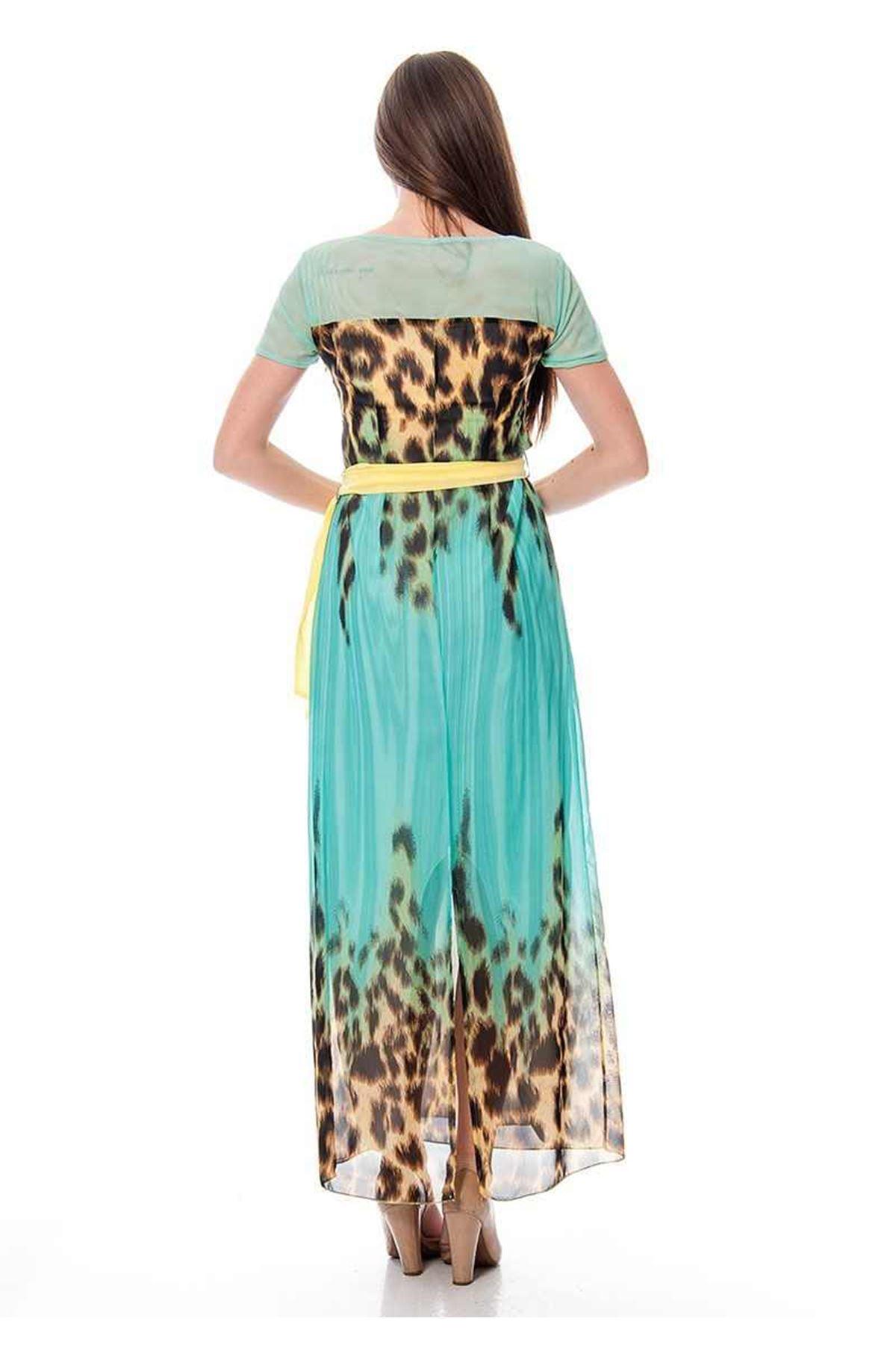 Mint Yeşili  Desenli Elbise F1-115769
