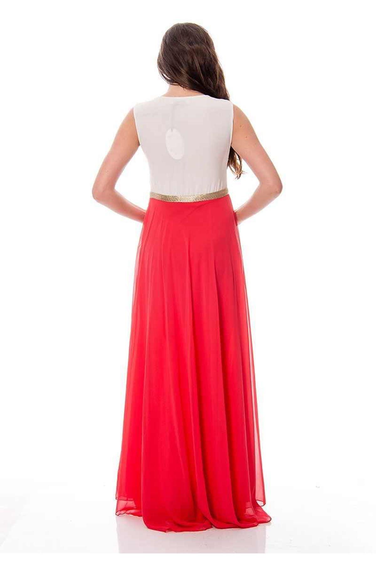 Mercan Beyaz Şifon Elbise F1-115467
