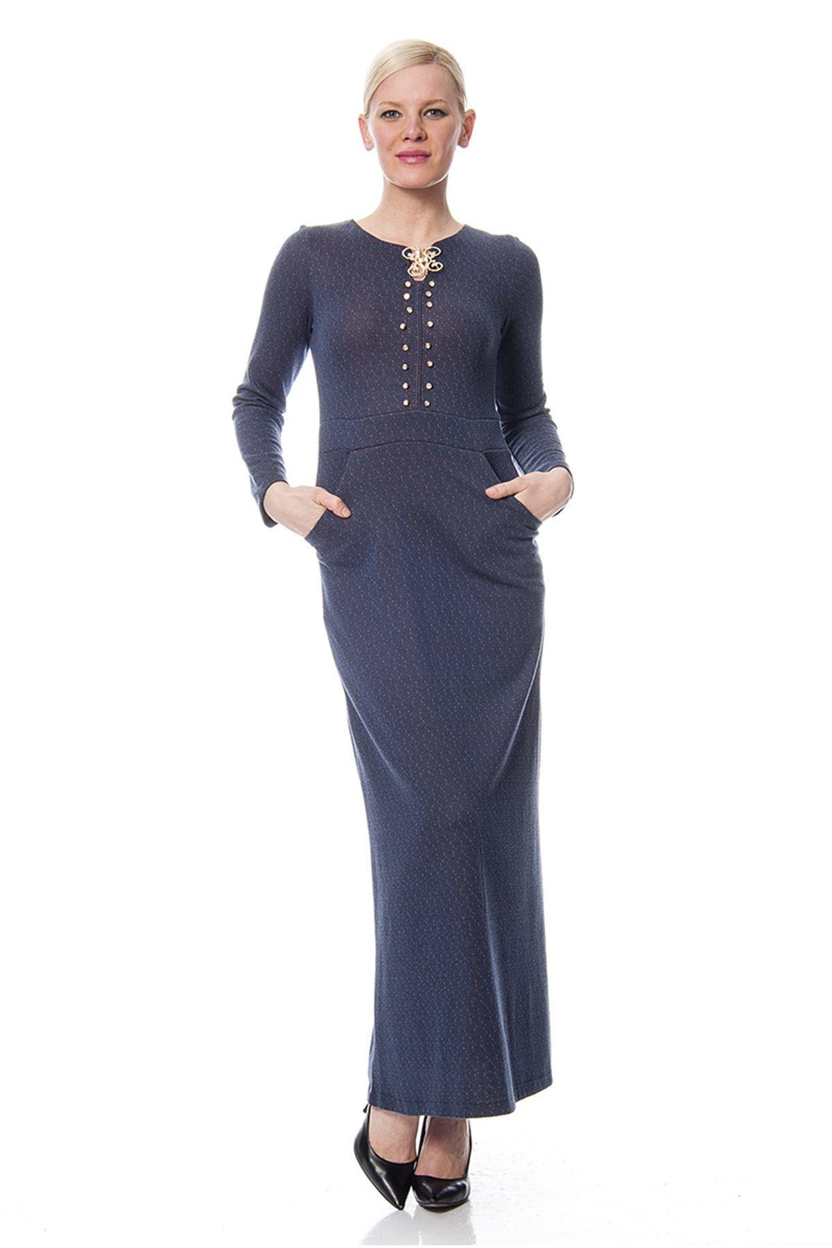 Lacivert Yaka Detaylı Elbise G9-113511