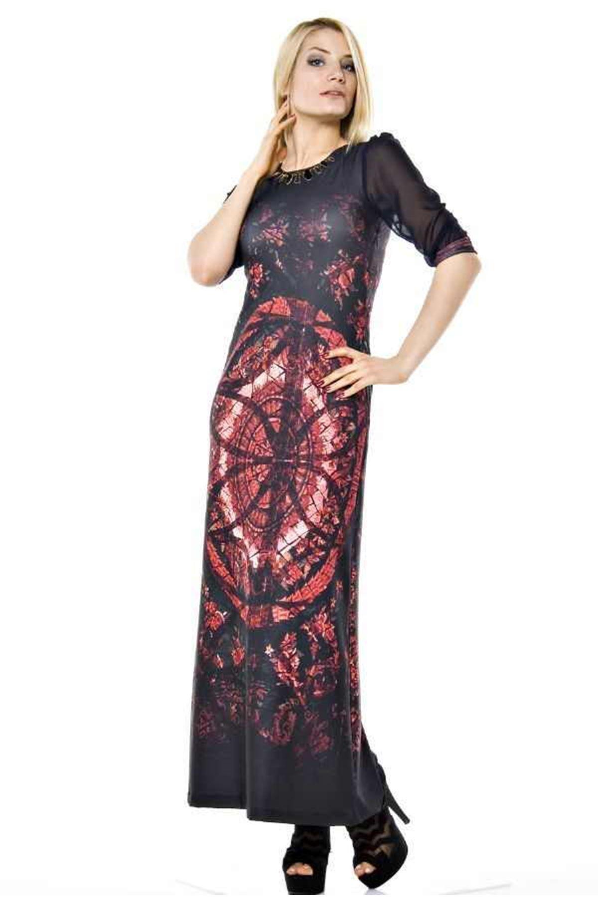 Lacivert-Pembe Elbise G9-61238