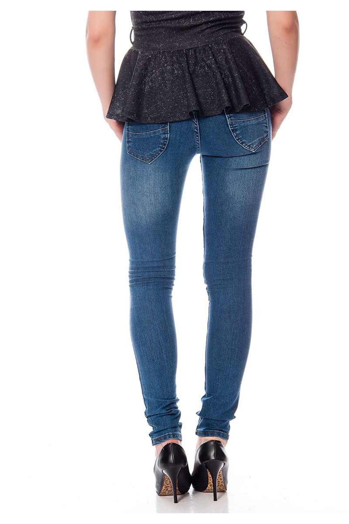 Lacivert Kadın Kot Pantolon 4A-116443