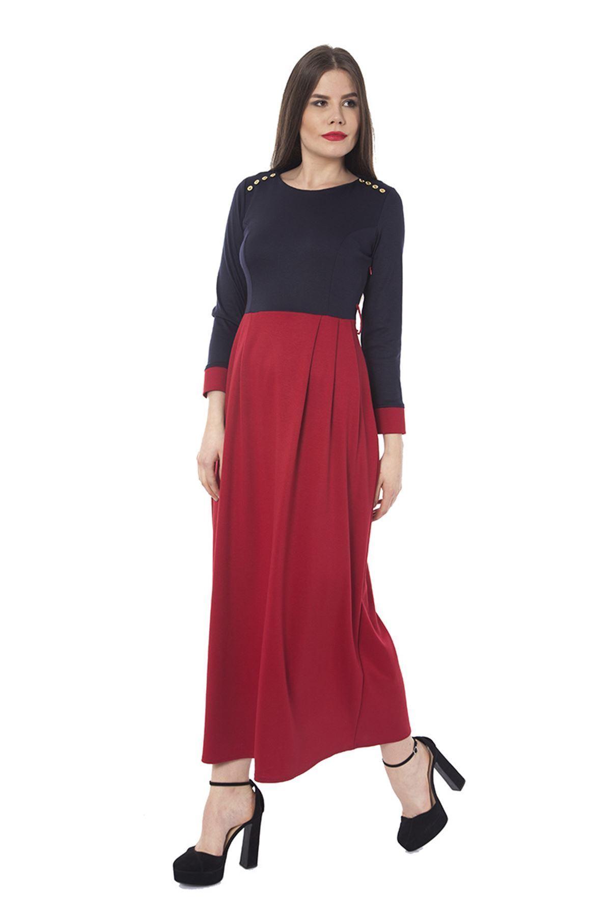 Lacivert Kemerli Uzun Elbise K7-68530