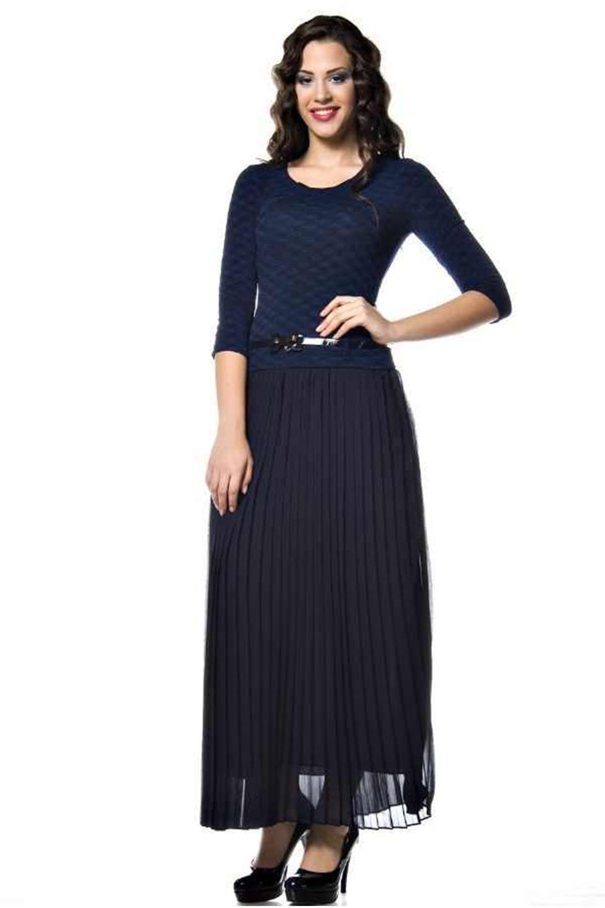 Lacivert Pileli Elbise G9-49764
