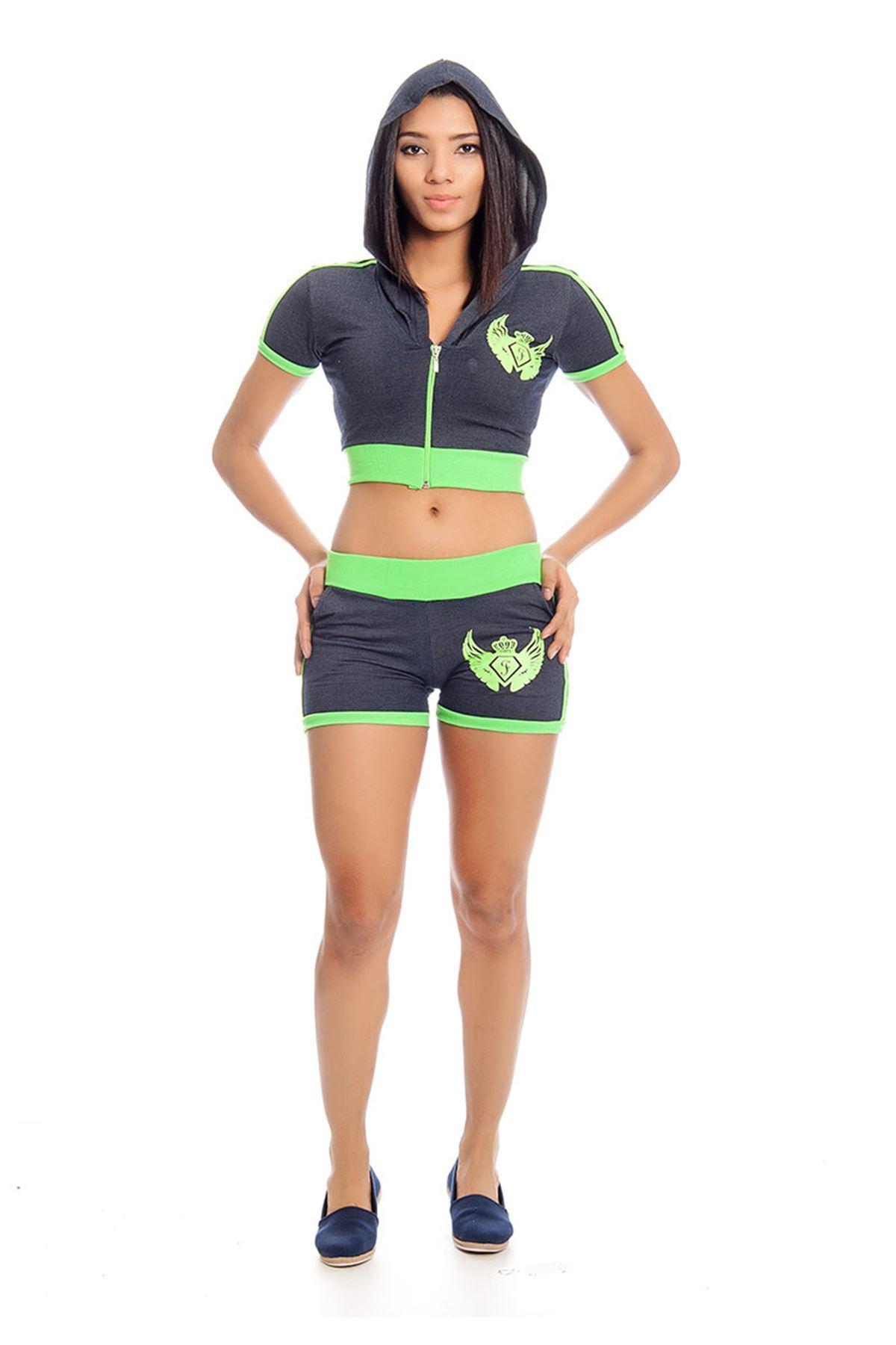 Lacivert Neon Yeşil Kapşonlu Eşofman Takımı 14E-129572