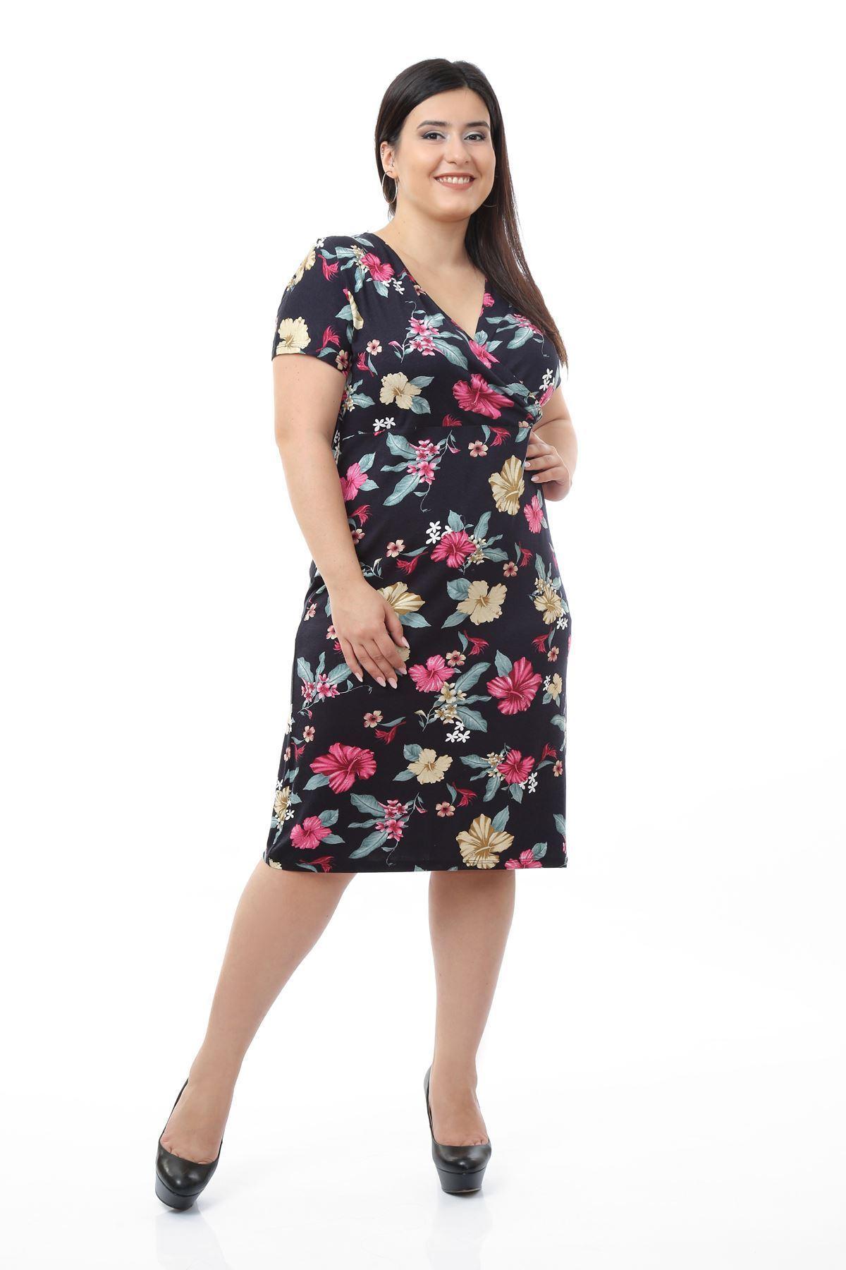 Lacivert Desenli Elbise 5A-0665