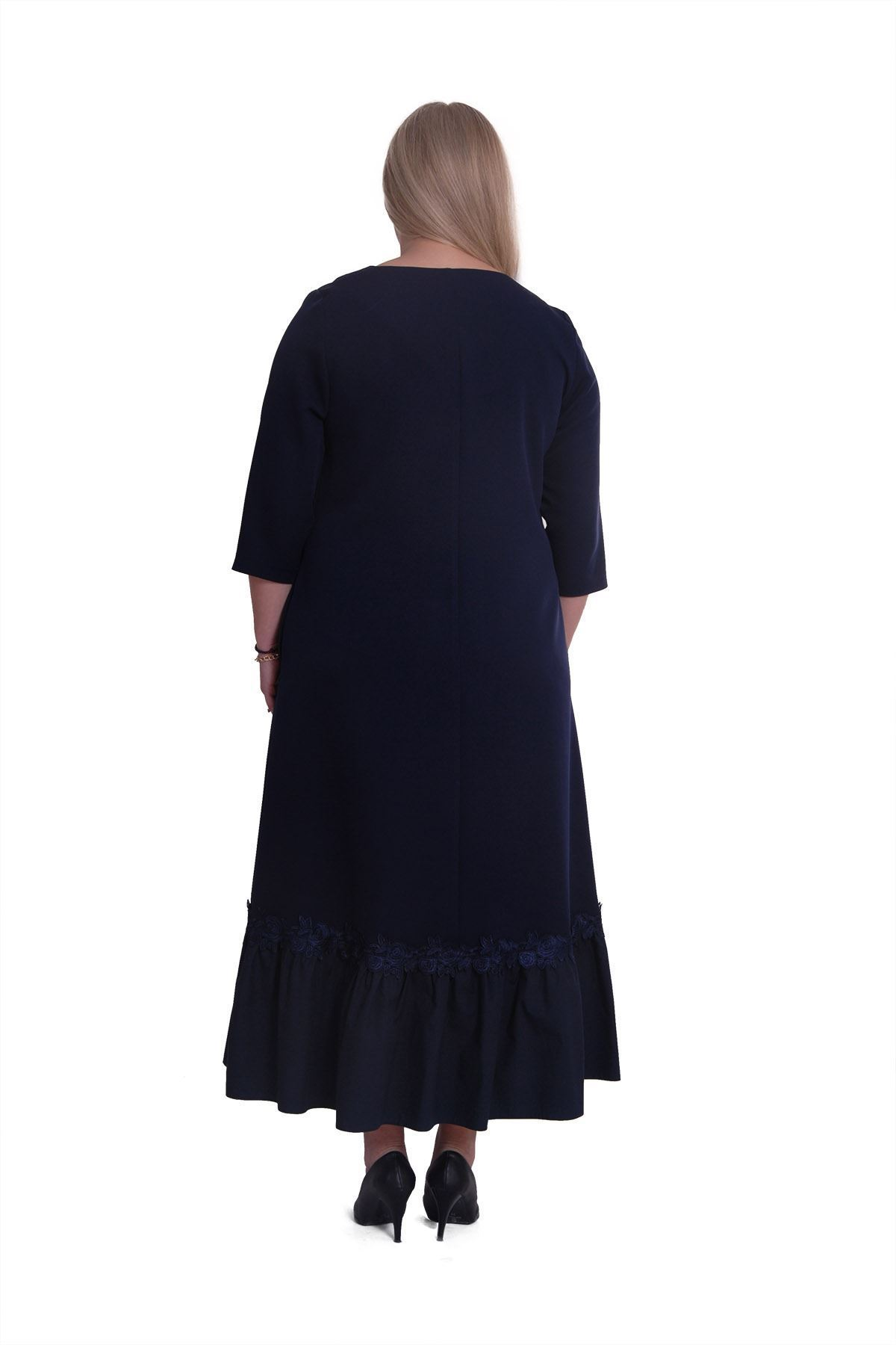 Lacivert Cepli Elbise H8-0427