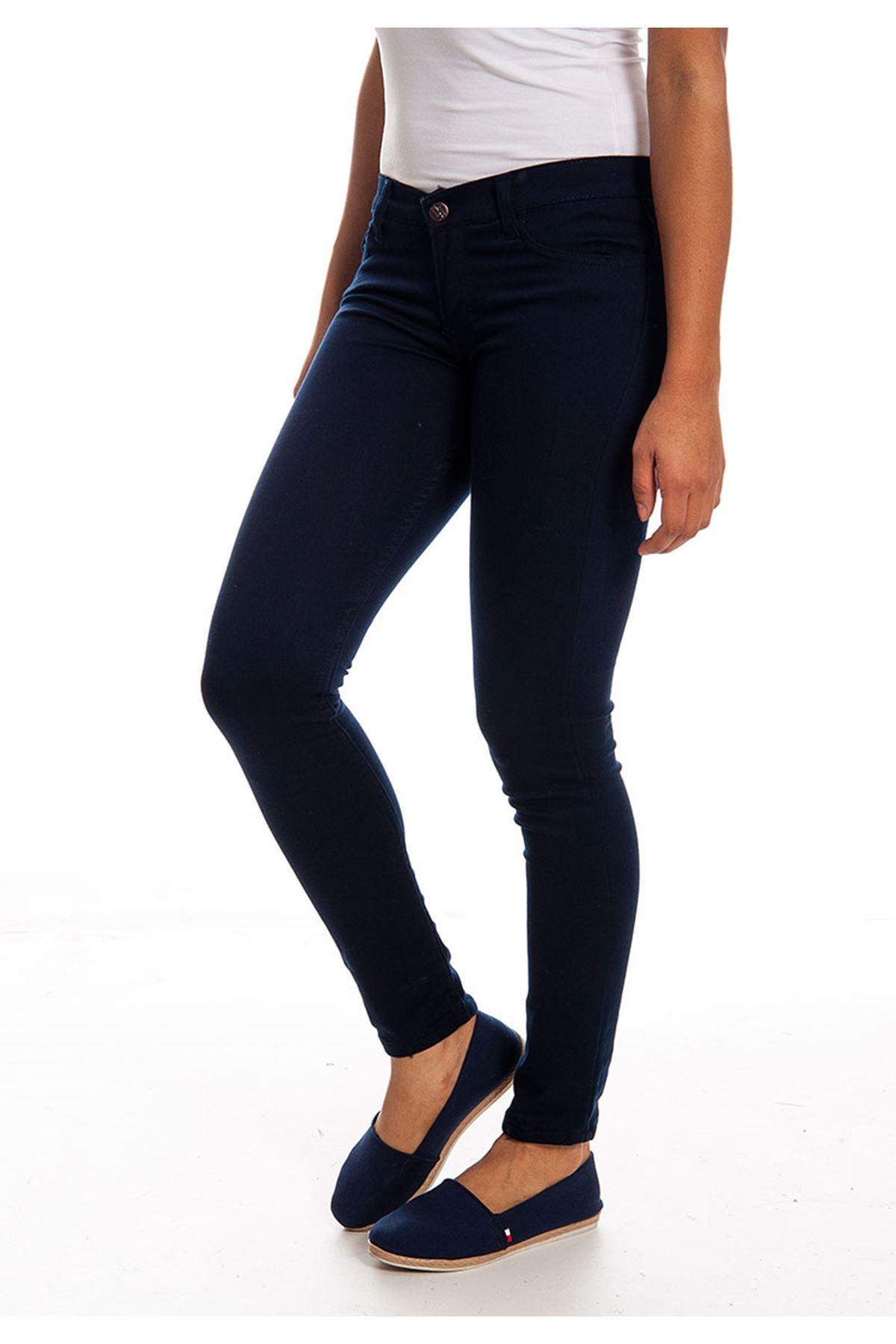Lacivert Dar Paça Kadın Pantolon 4A-126045