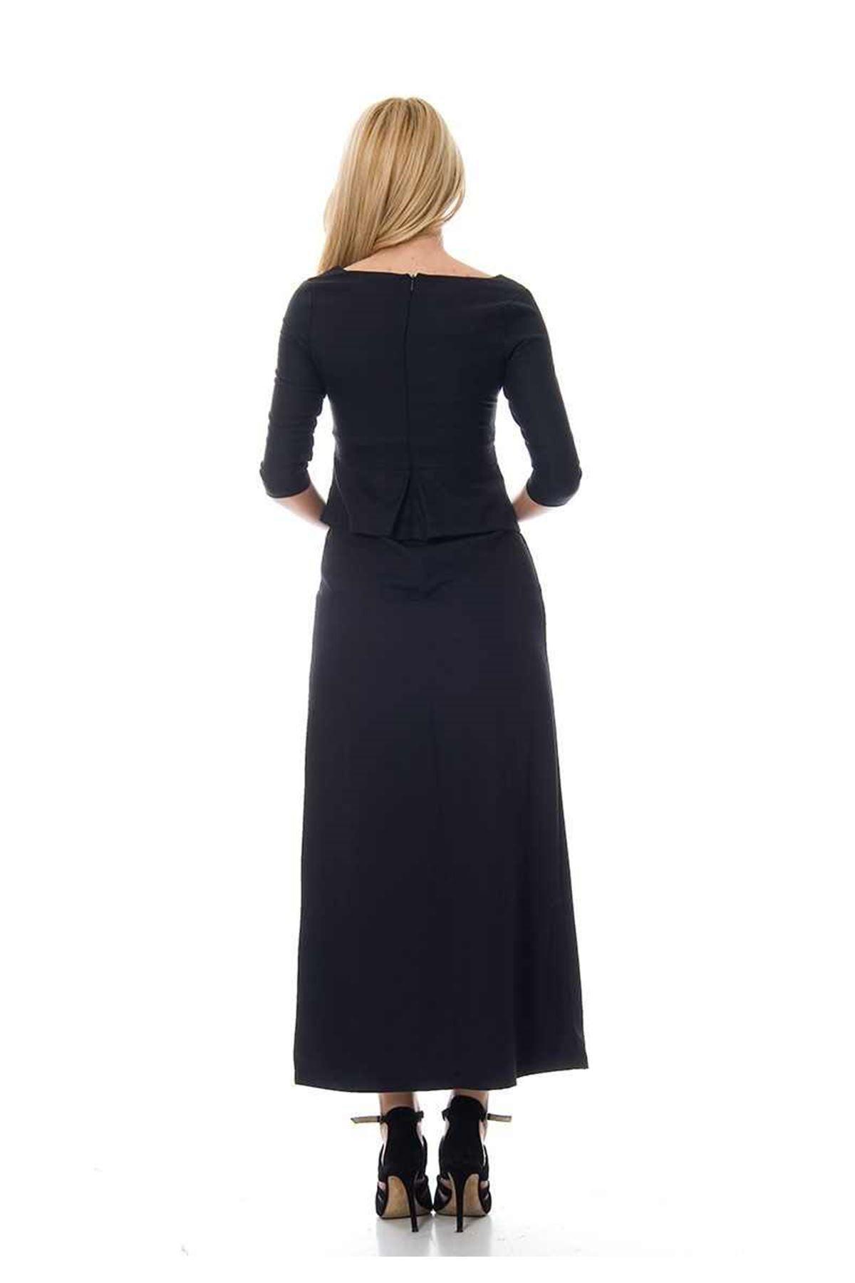 Lacivert - Siyah Kazayağı Desenli Elbise F1-104086