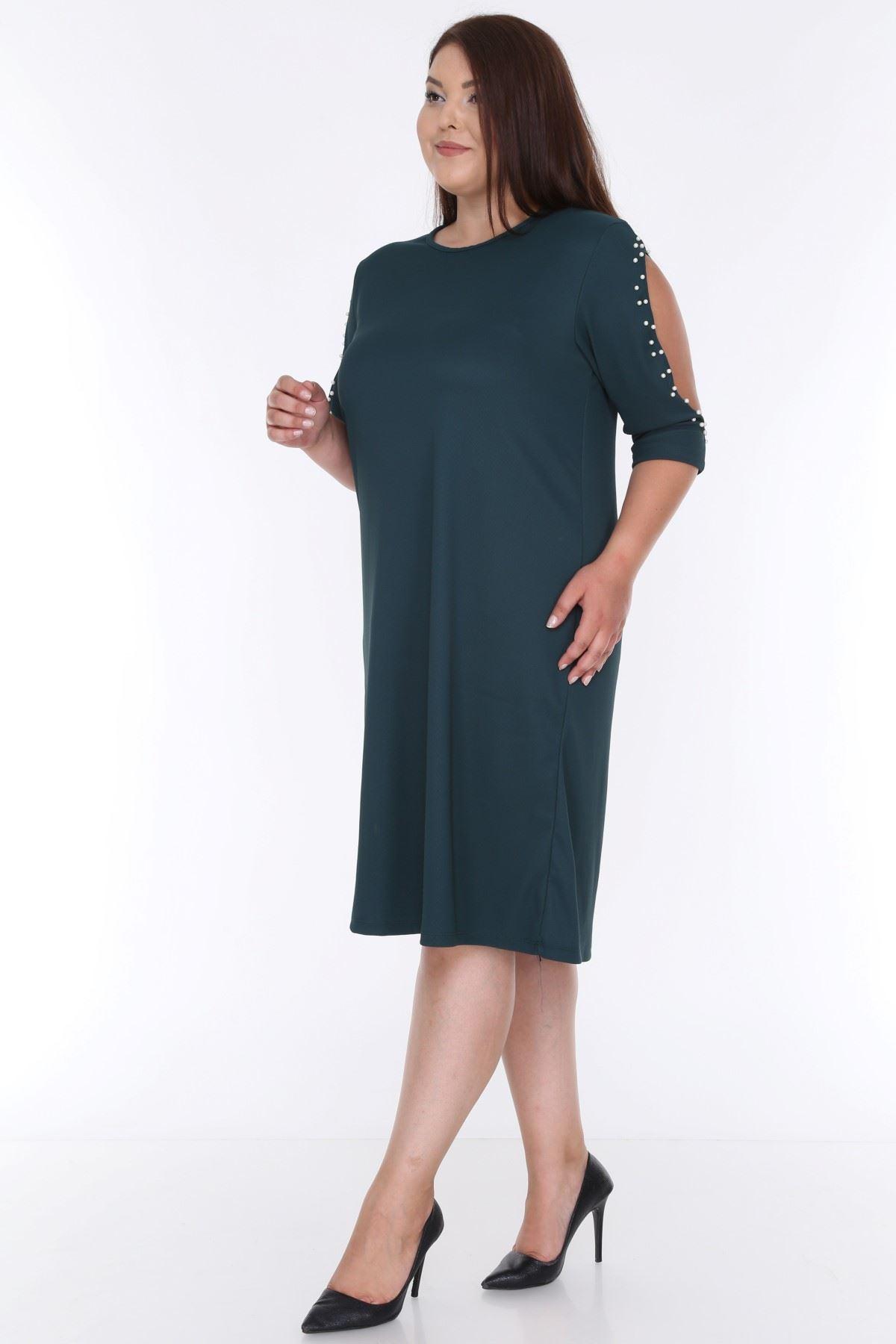 Kol İncili Yeşil Elbise 2B-0621