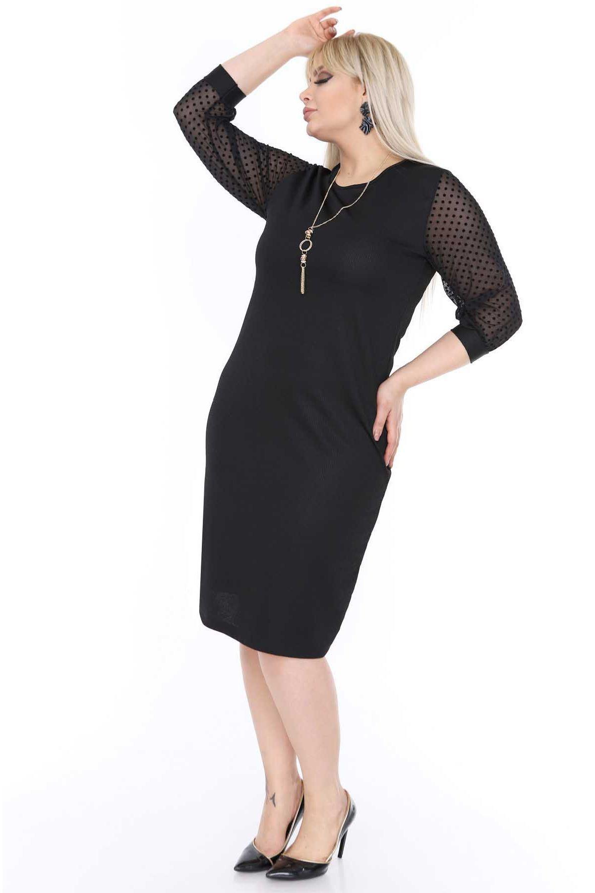 Kolları Puanlı Elbise 16D-0471