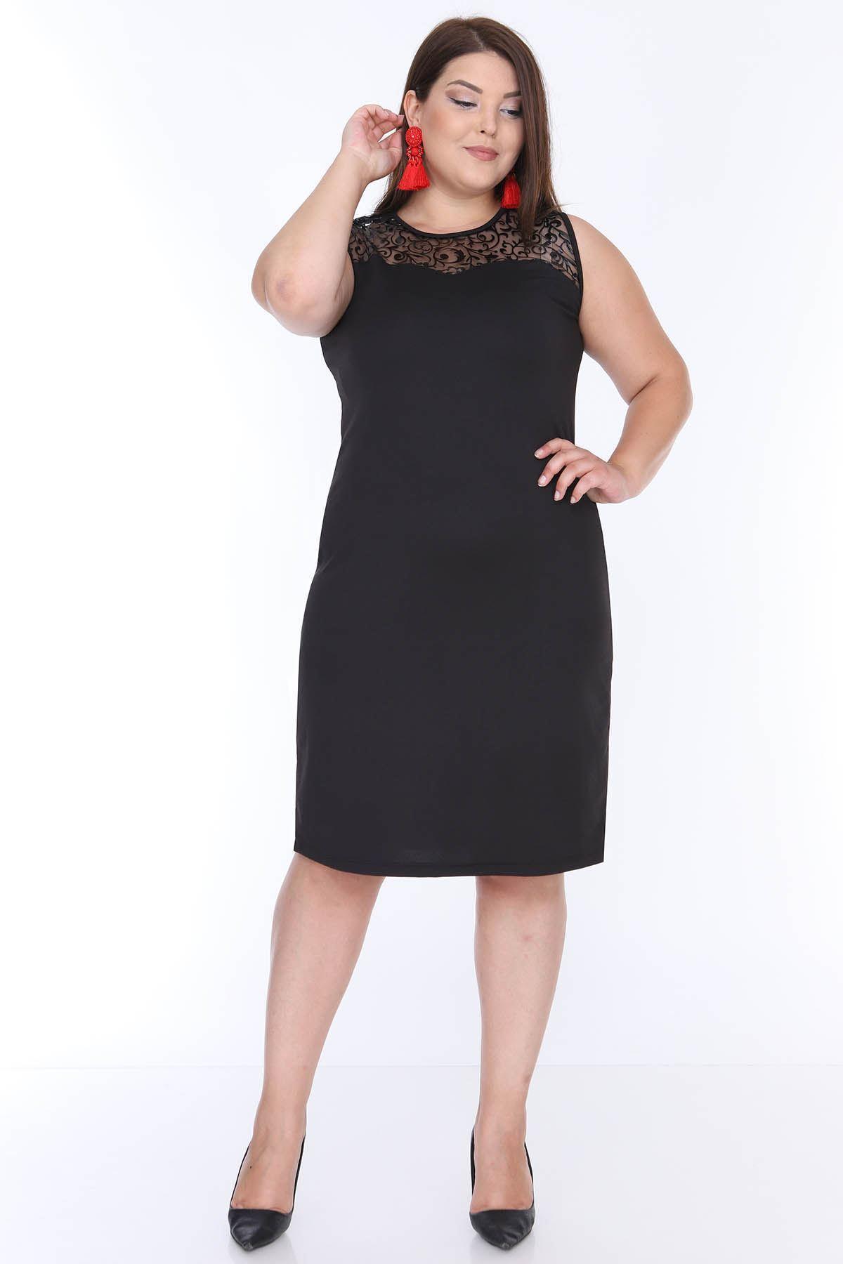 Kolsuz Siyah Esnek Elbise 16D-0650