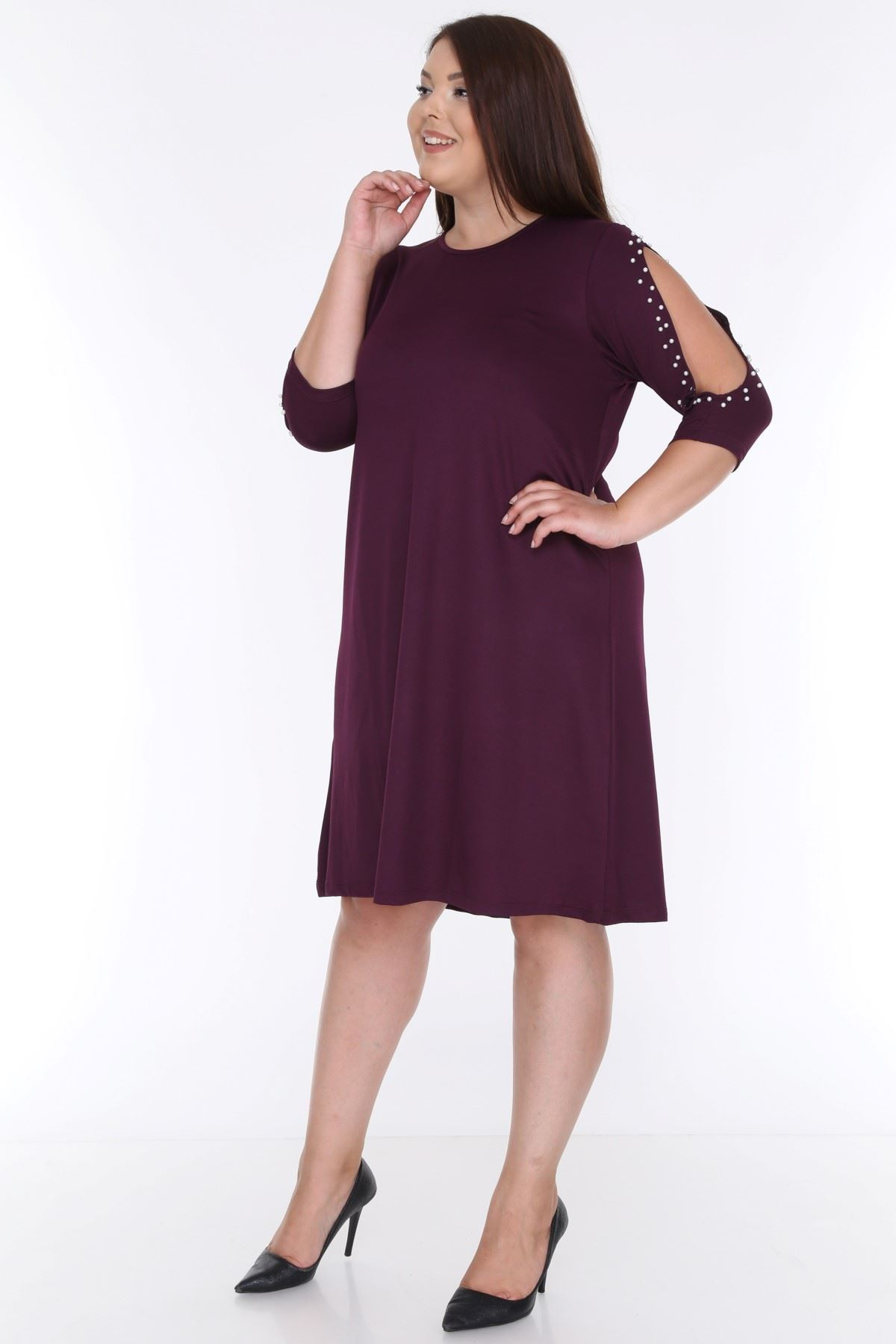 Kol İncili Mor Elbise 9E-0615