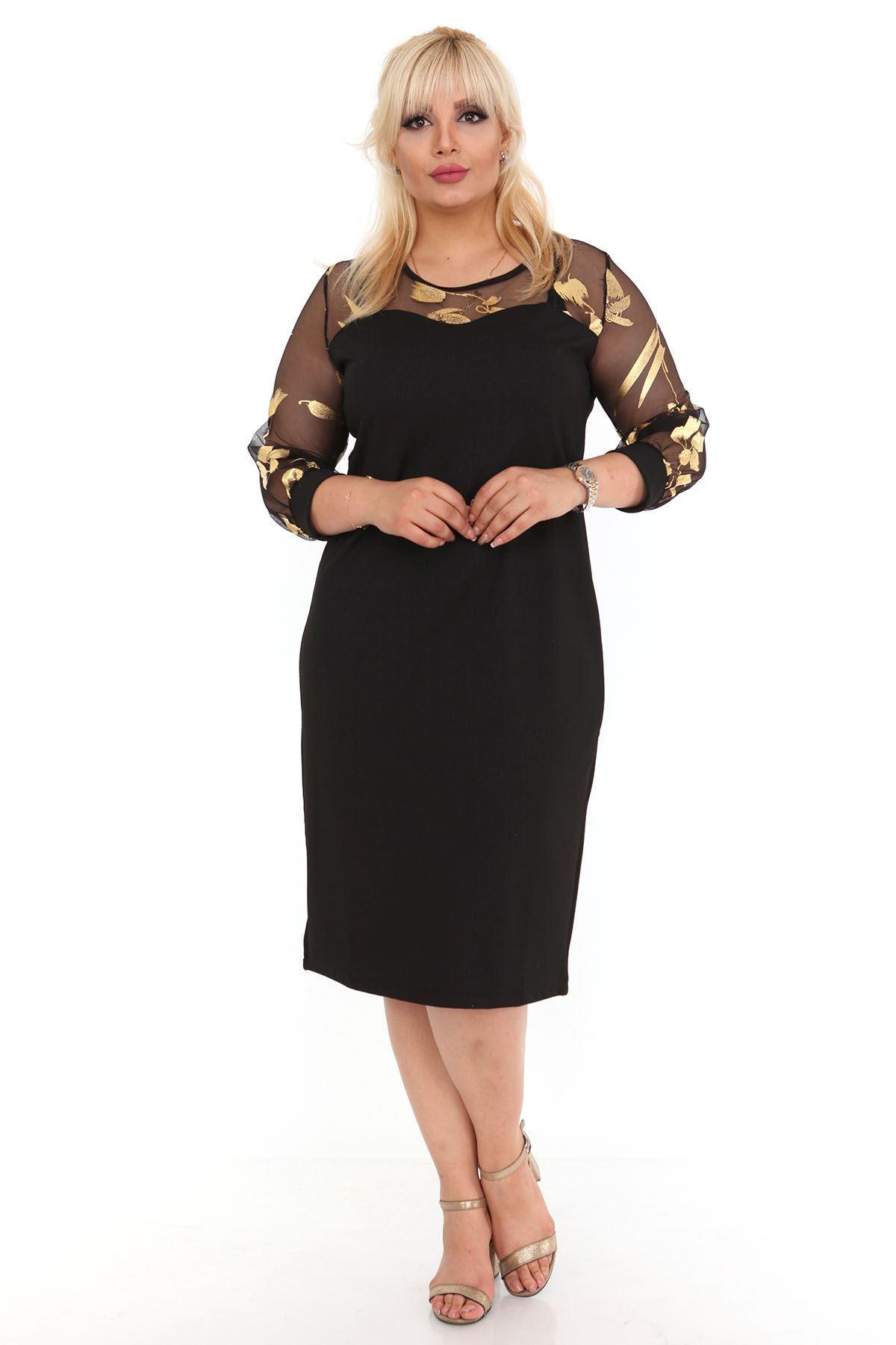 Kolları Varaklı Siyah Elbise 18C-0433