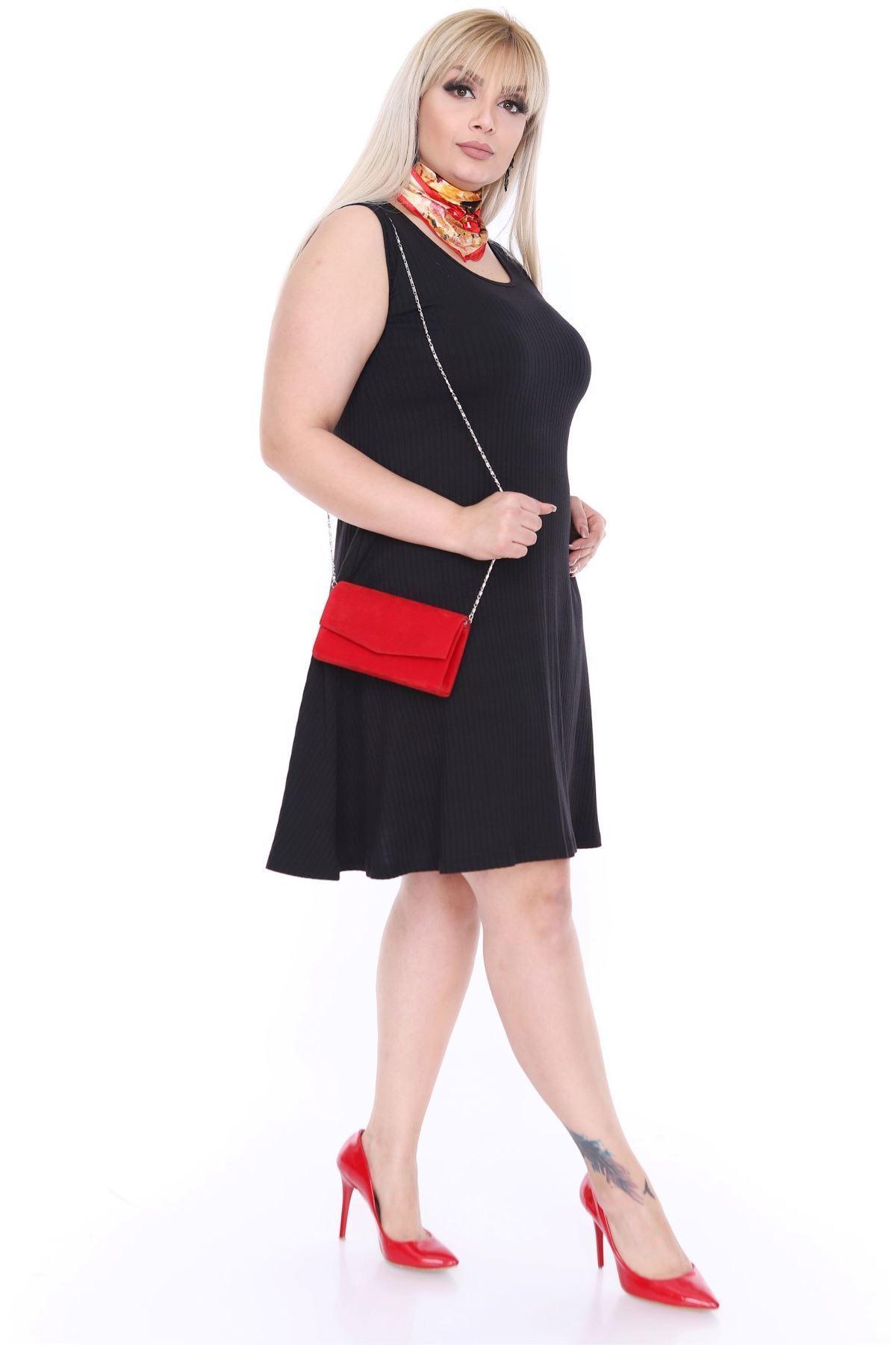 Kolsuz Siyah Esnek Elbise 20L-0449