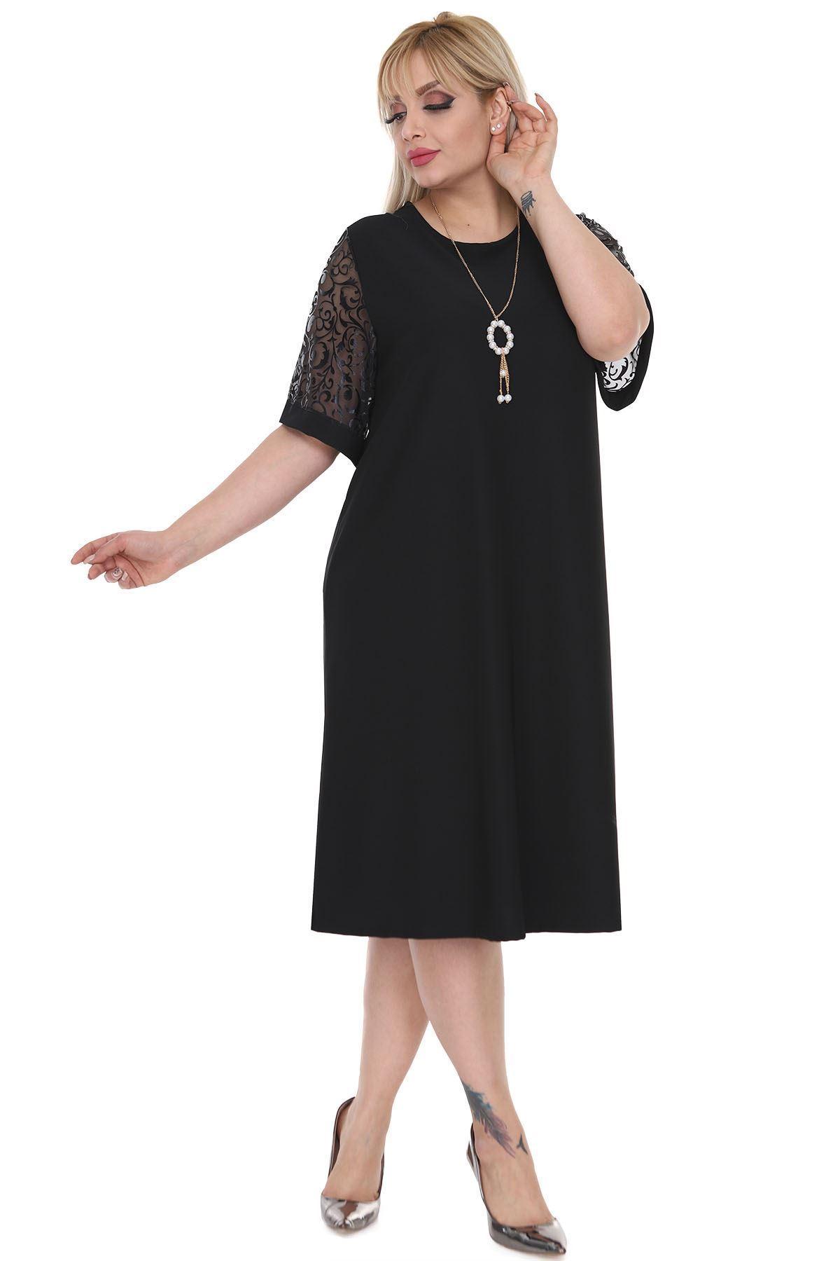Kimono Kol Siyah Elbise 8A-0521
