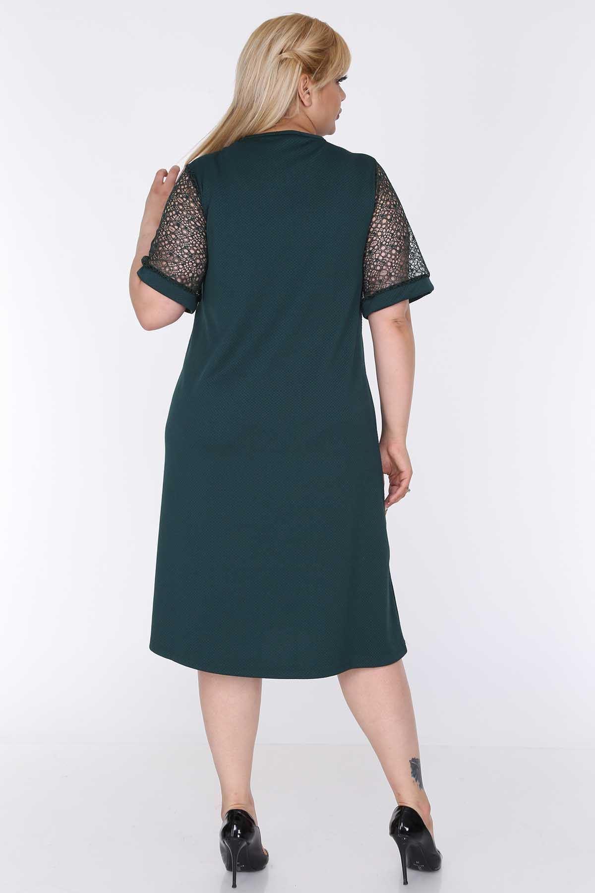 Kısa Kolları Dantel Elbise 22C-0578