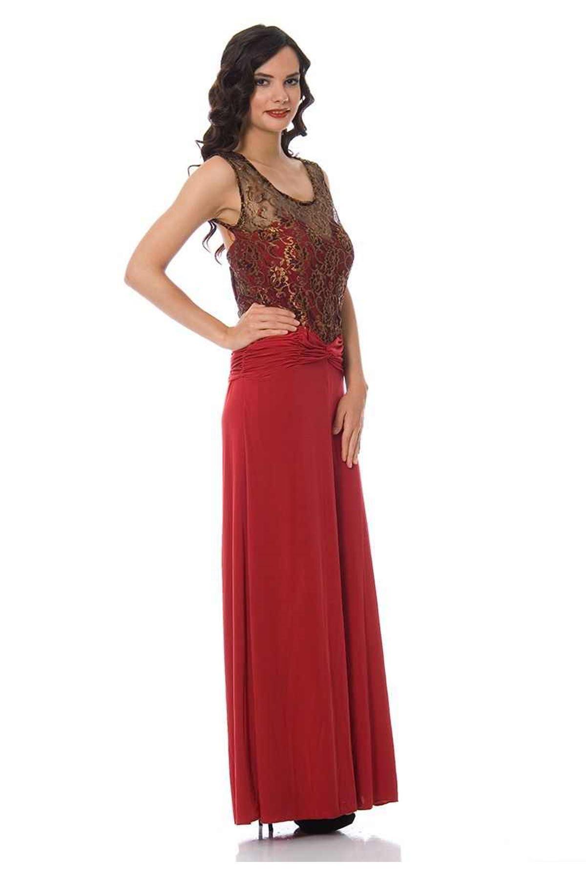 Kırmızı-Gold Abiye H8-83505