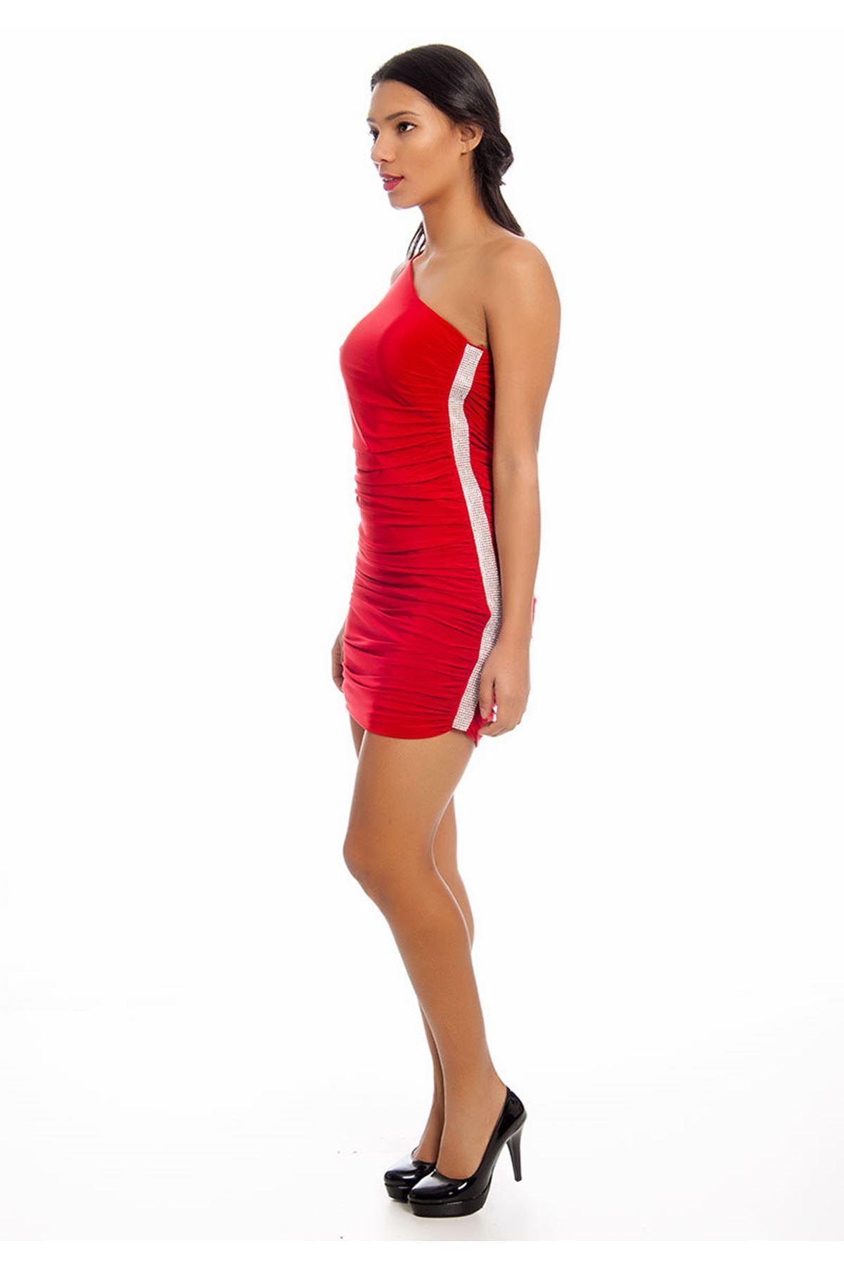 Kırmızı Tek Kol Taşlı Abiye Elbise G2-125593