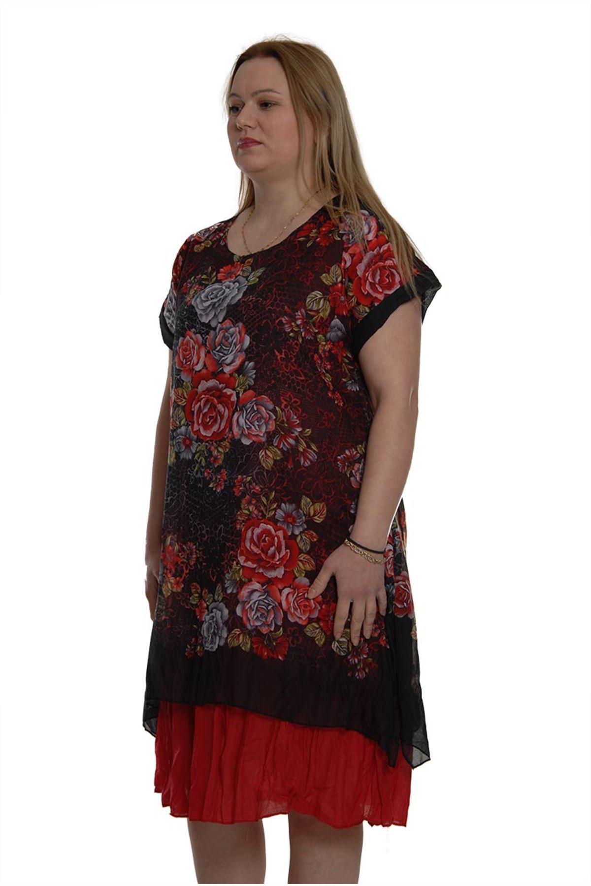 Kısa Kol Bürümcük Elbise 16C-1005