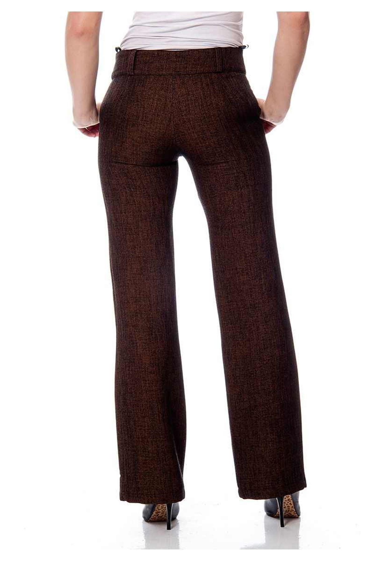 Kahverengi Kırçıllı Kumaş Pantolon I7-111410