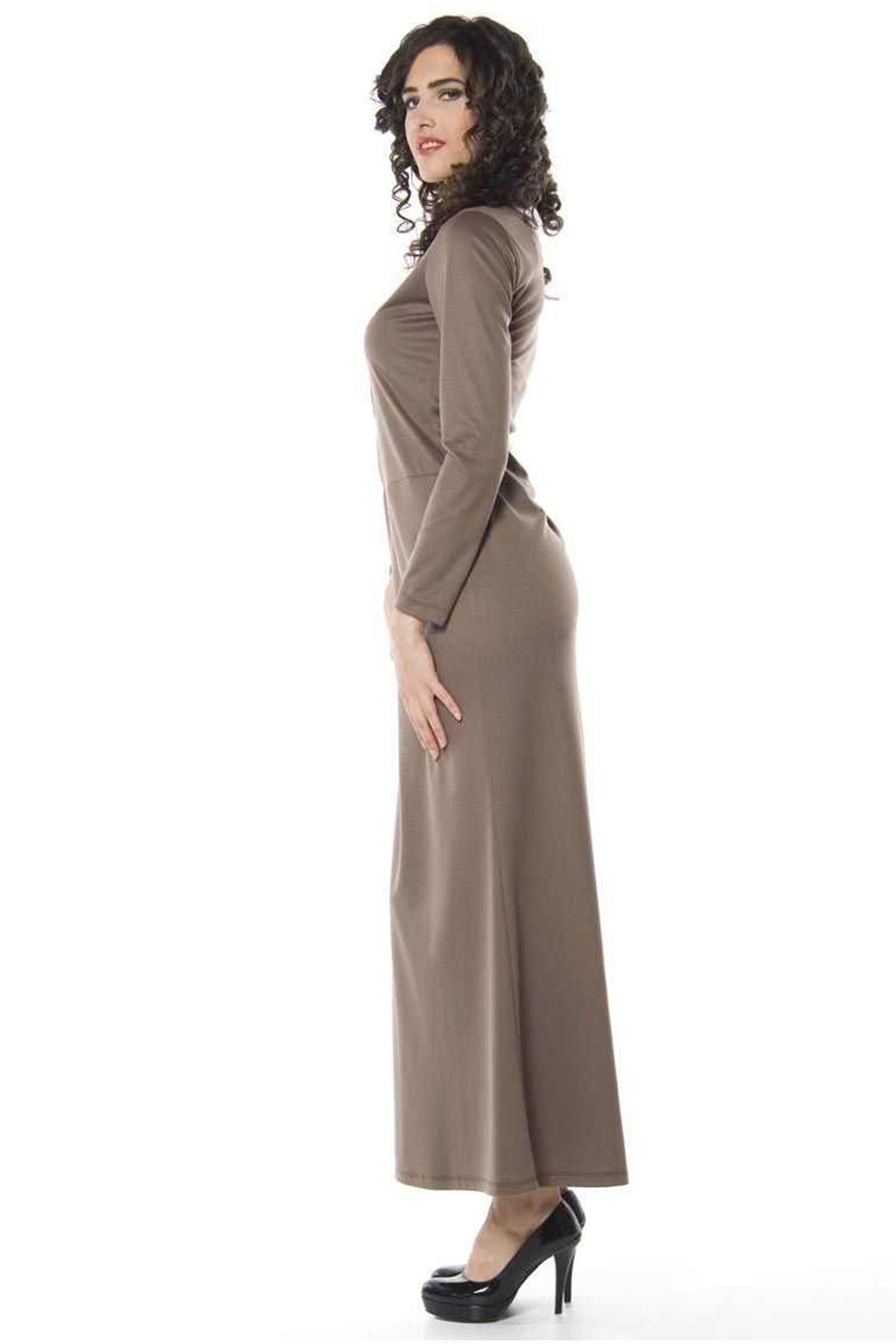 Kahverengi Uzun Elbise H1-66133