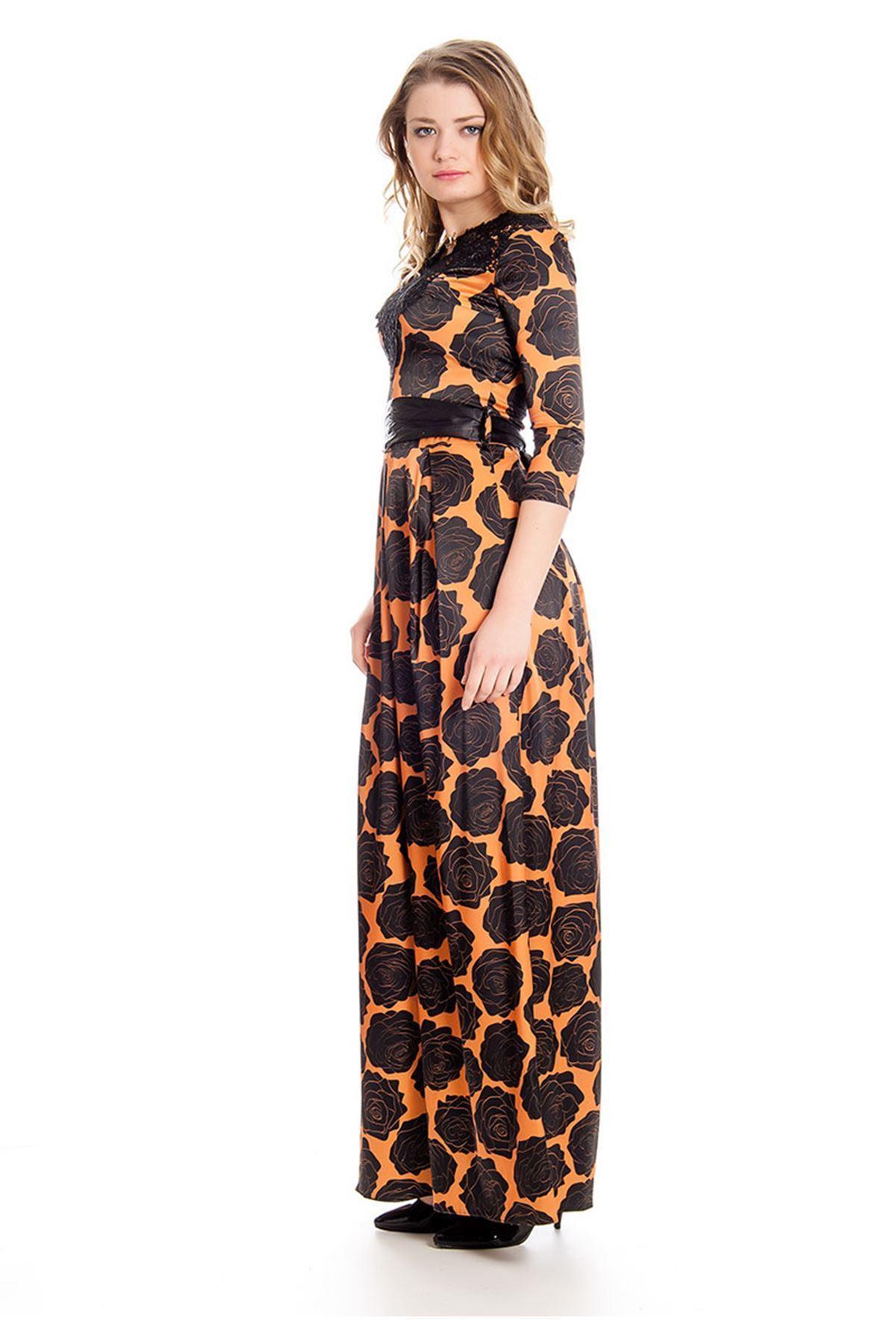 Kahverengi Dantel Detaylı Kadın Uzun Elbise H1-126620
