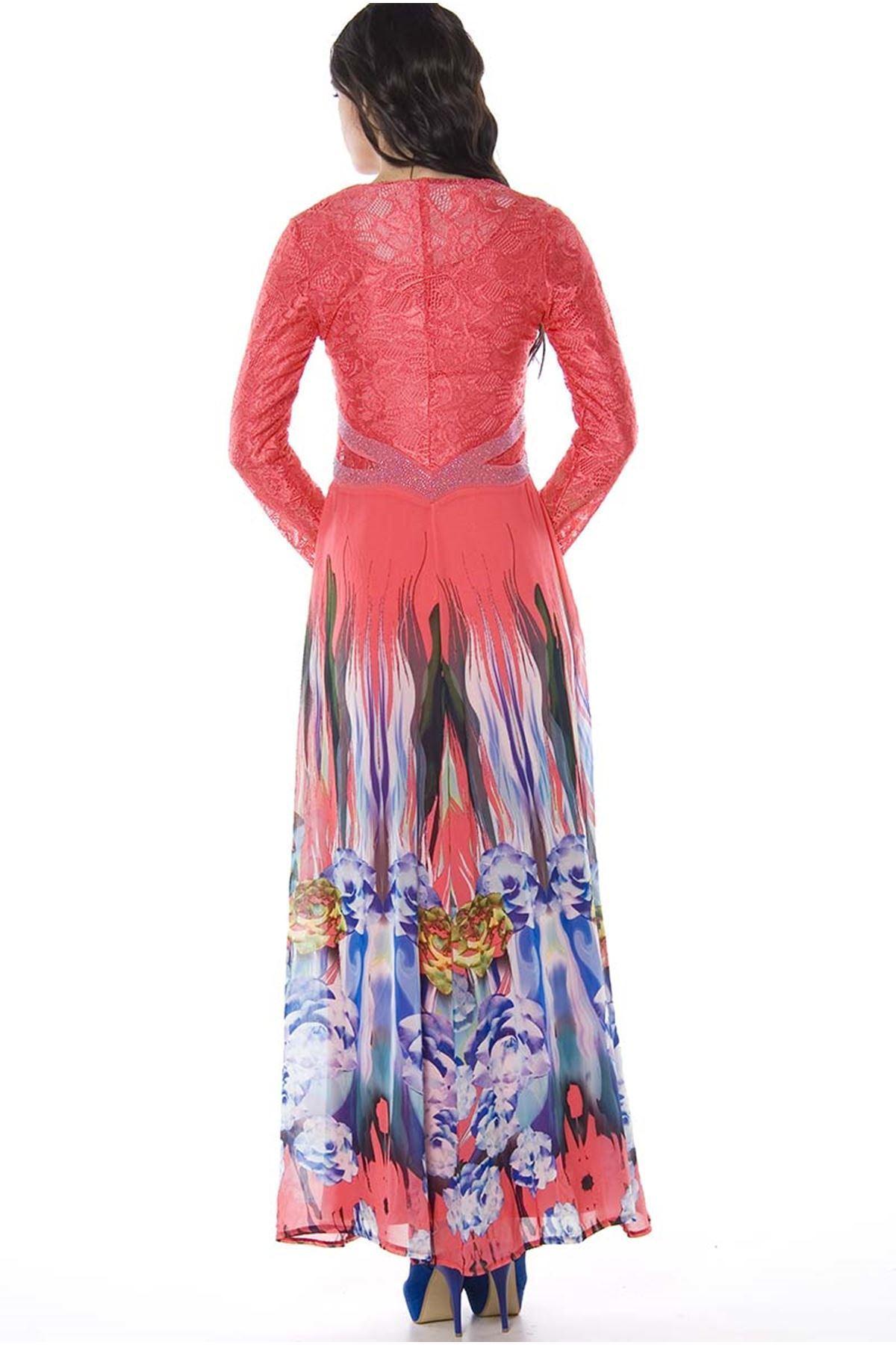 Just Line Mercan Taşlı Dantelli Kadın Elbise H8-823944