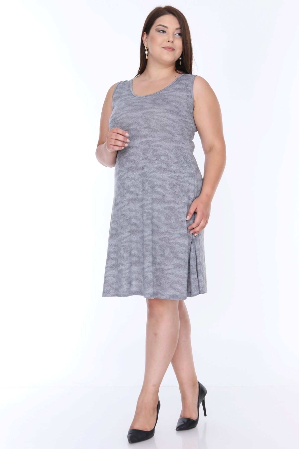 Gri Kolsuz Elbise 6B-0641