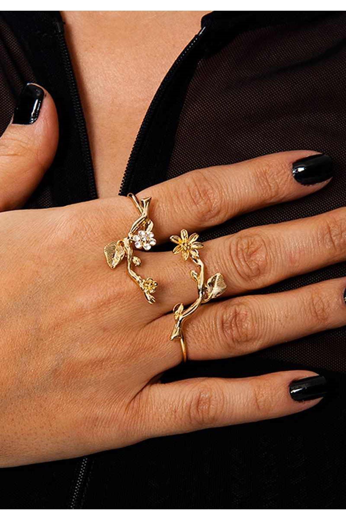 Gold Taşlı Çiçekli Yüzük 2Ç-109061