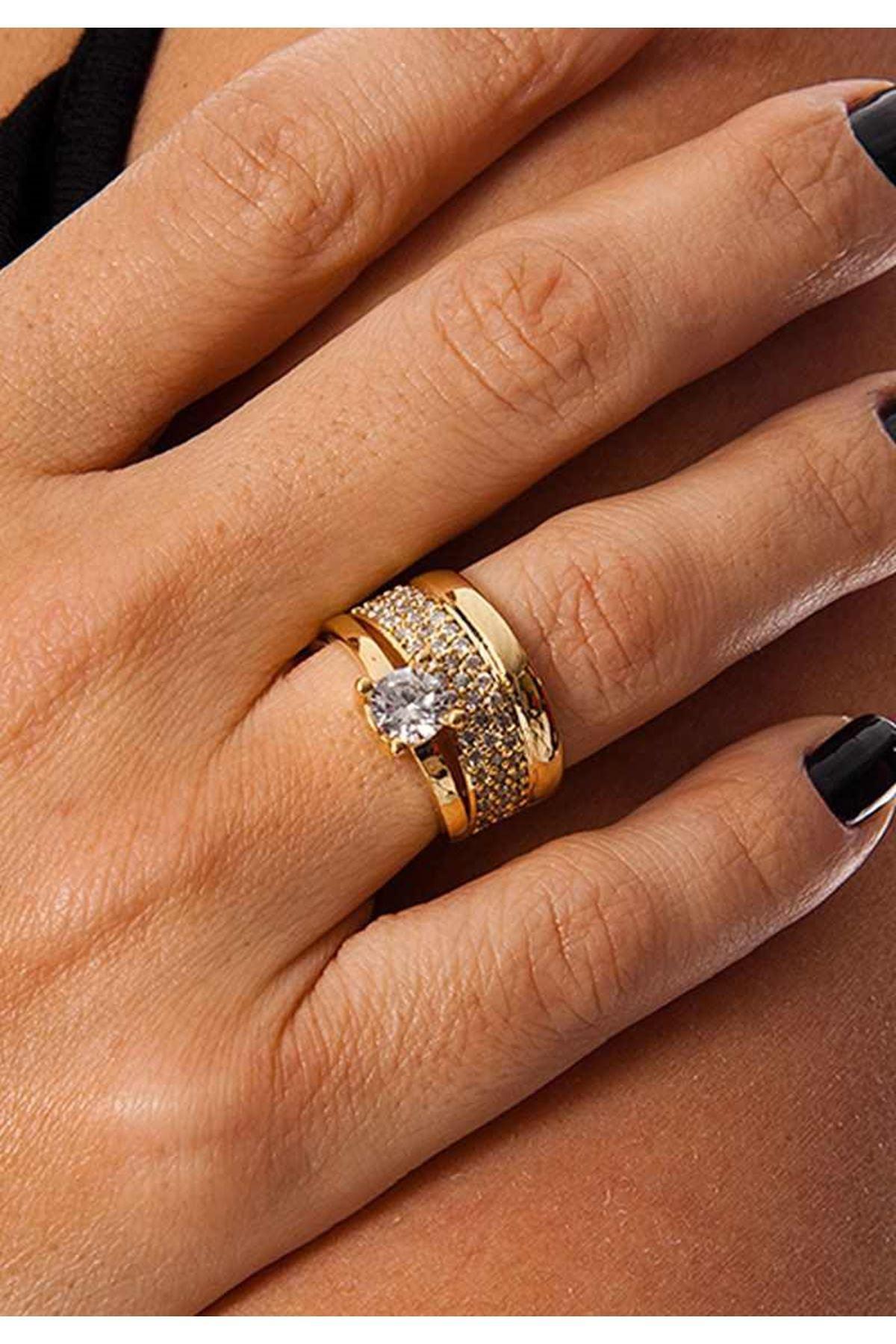 Gold Alyanslı Tek Taş Yüzük 1Ç-109088