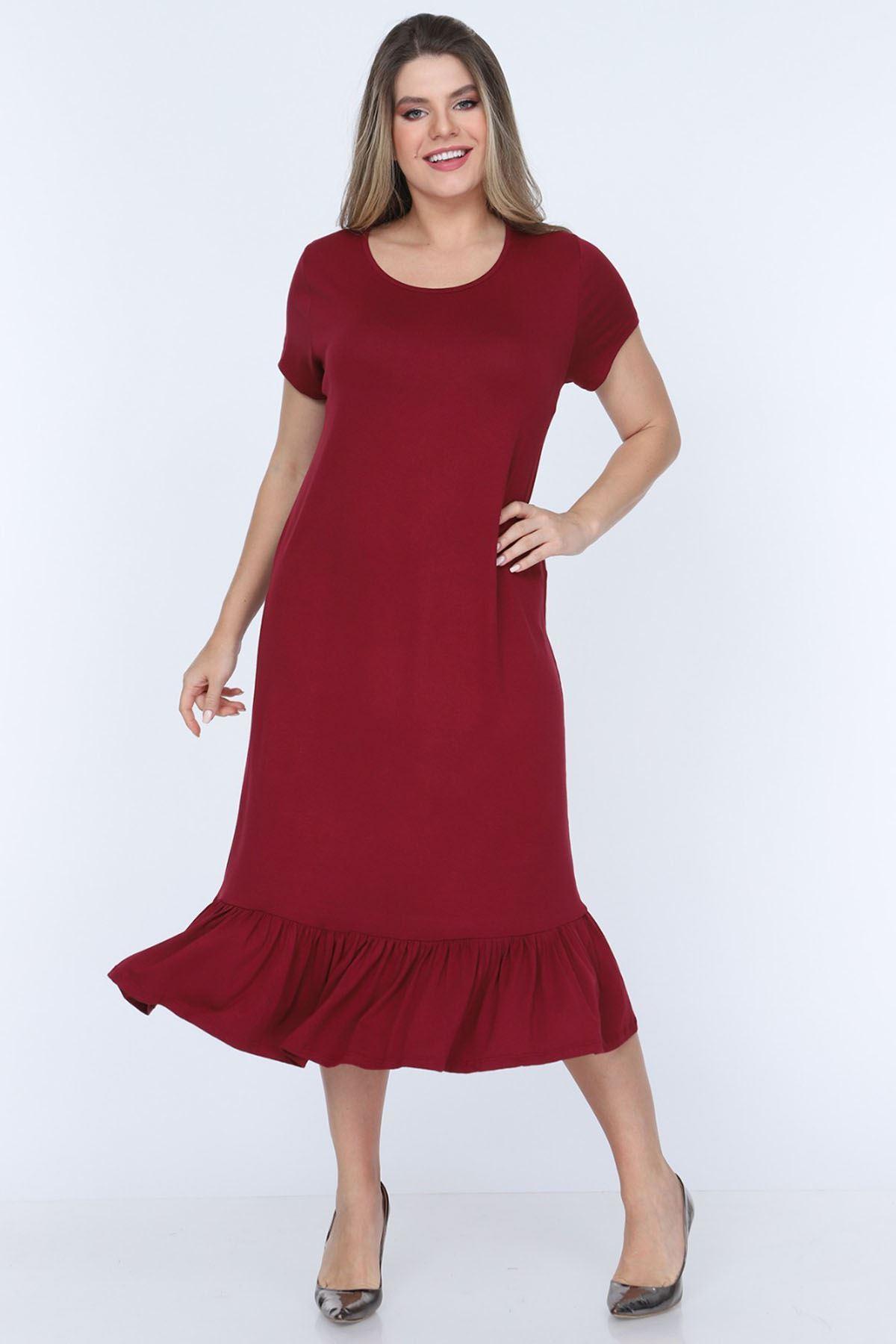 Fırfırlı Bordo Elbise 11E-0704