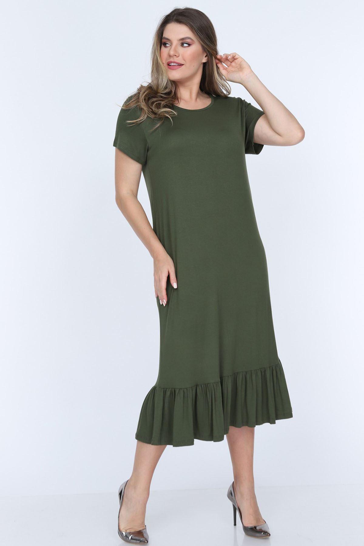 Eteği Fırfırlı Yeşil Elbise 11D-0701