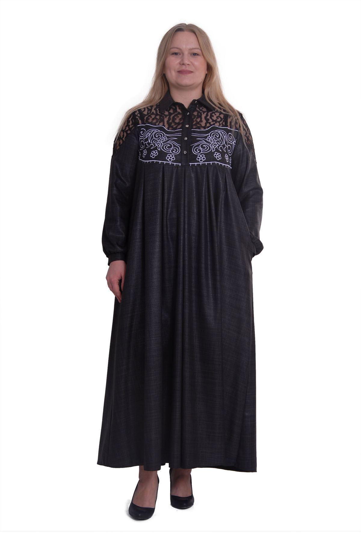 Düğmeli Yaka Elbise H2-0432