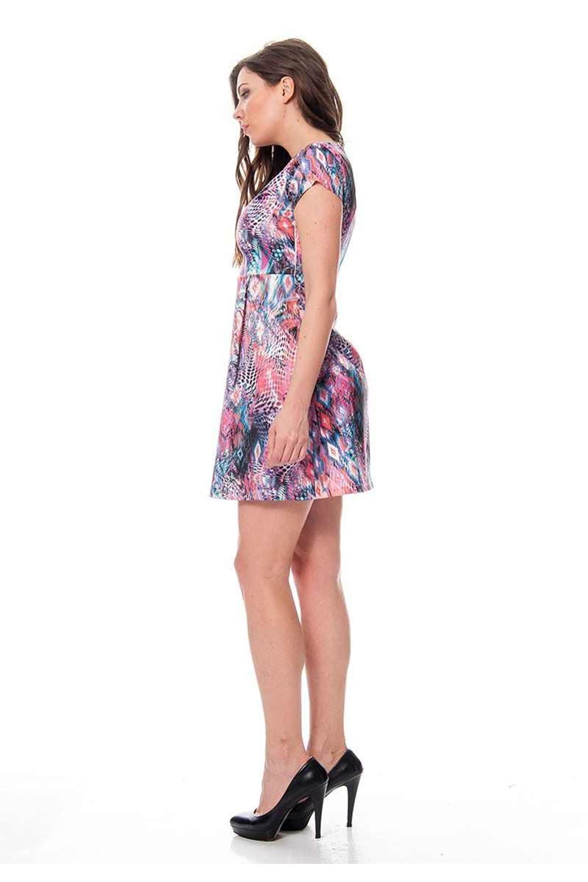 Desenli Saten Kadın Elbise F12-115423